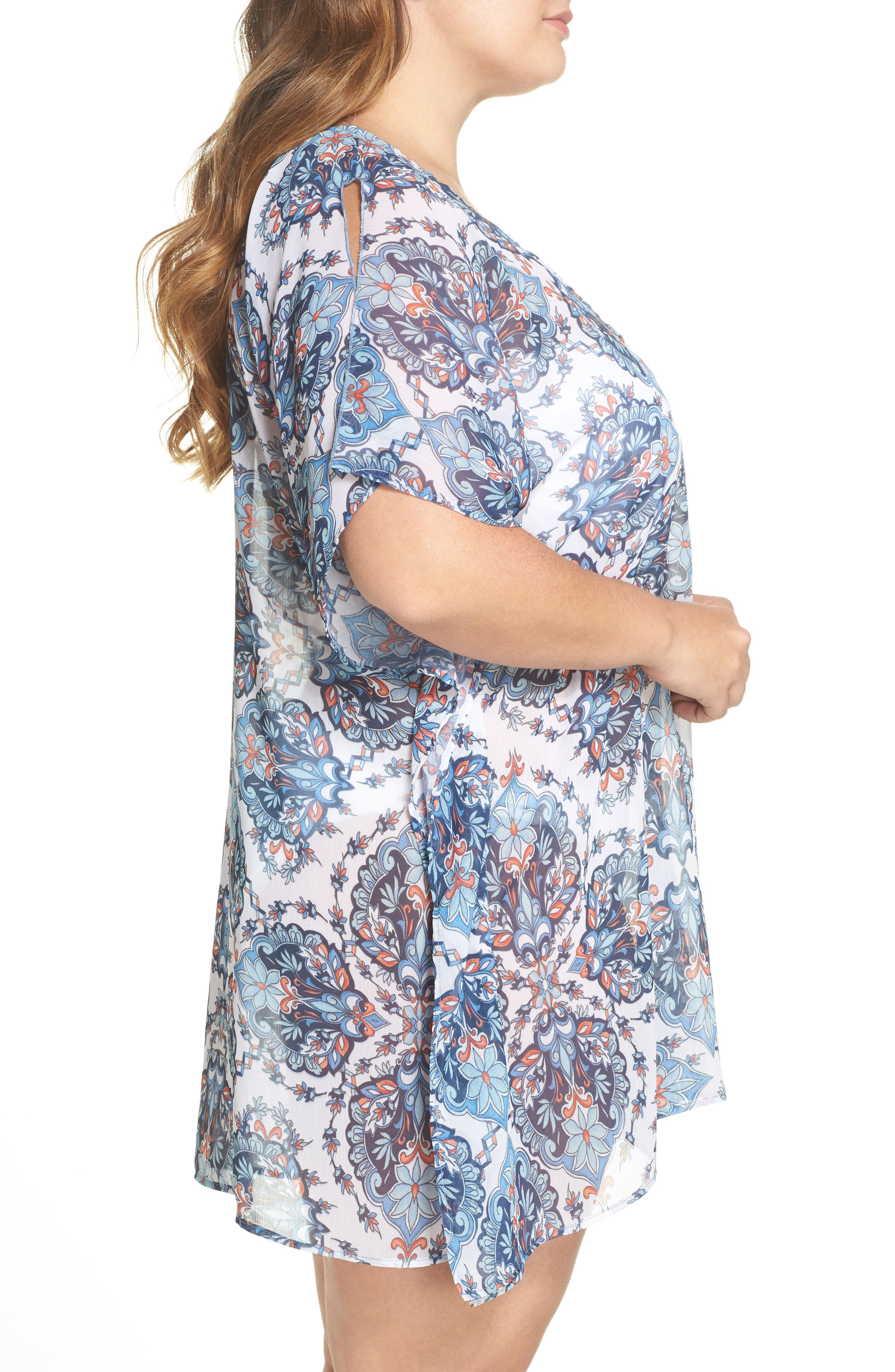 Naples Tunic Cover-Up,                             Alternate thumbnail 3, color,                             Navy Multi
