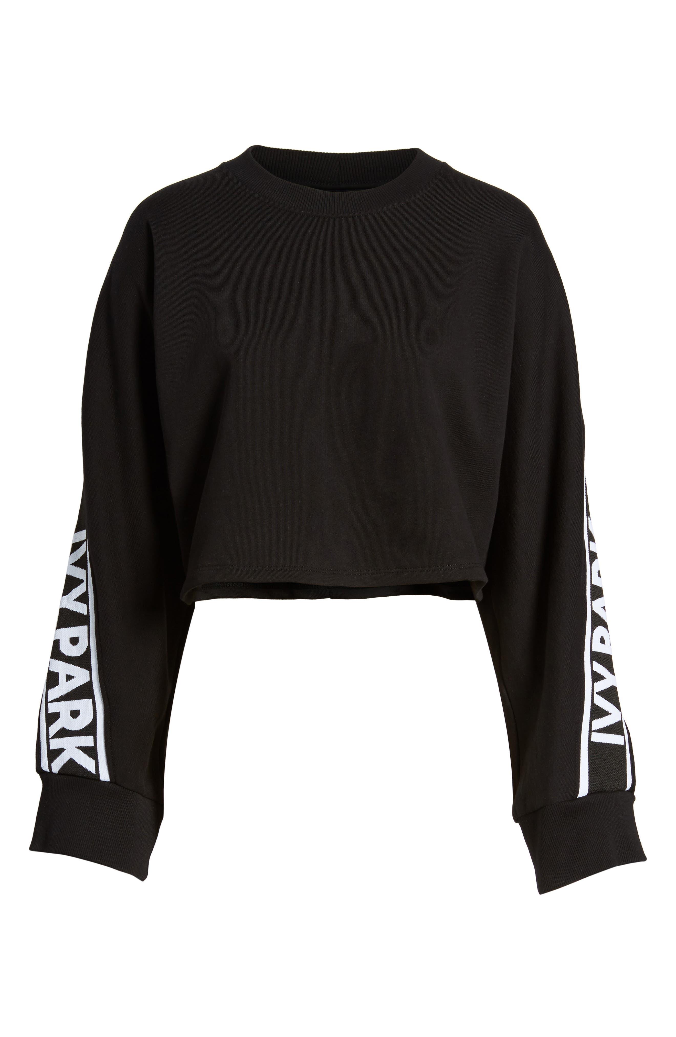 Logo Tape Crop Sweatshirt,                             Alternate thumbnail 9, color,                             Black