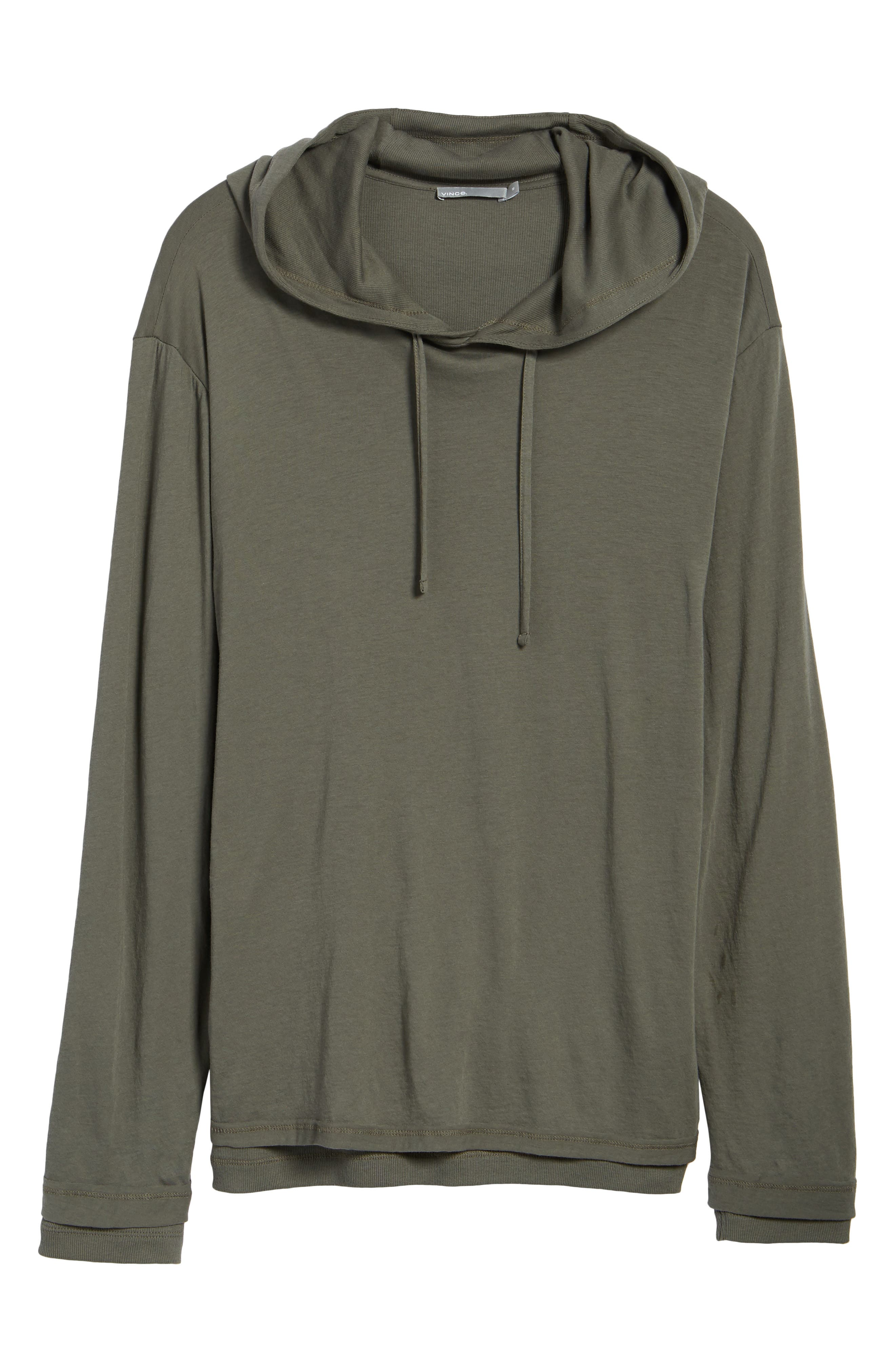Double Layer Hoodie,                             Alternate thumbnail 7, color,                             Pine