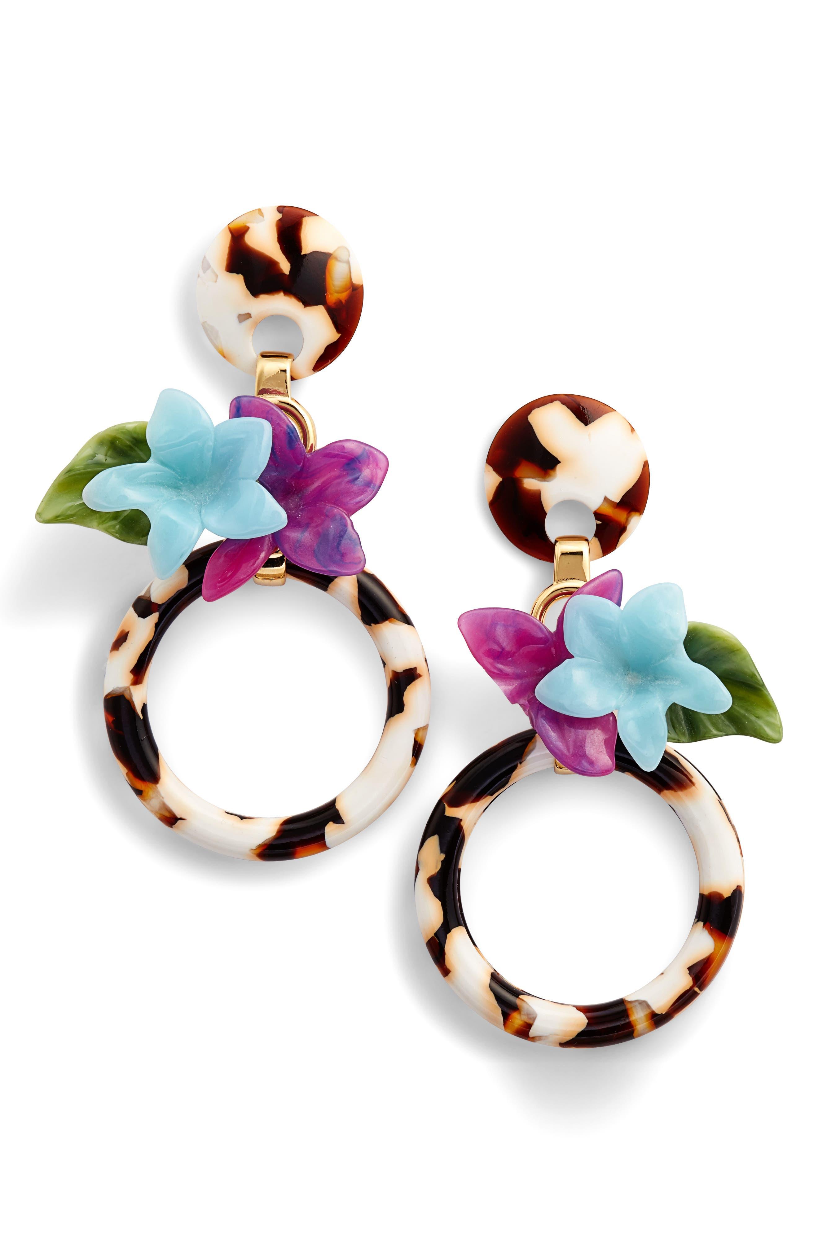 Hibiscus Hoop Earrings,                             Main thumbnail 1, color,                             Tortoise