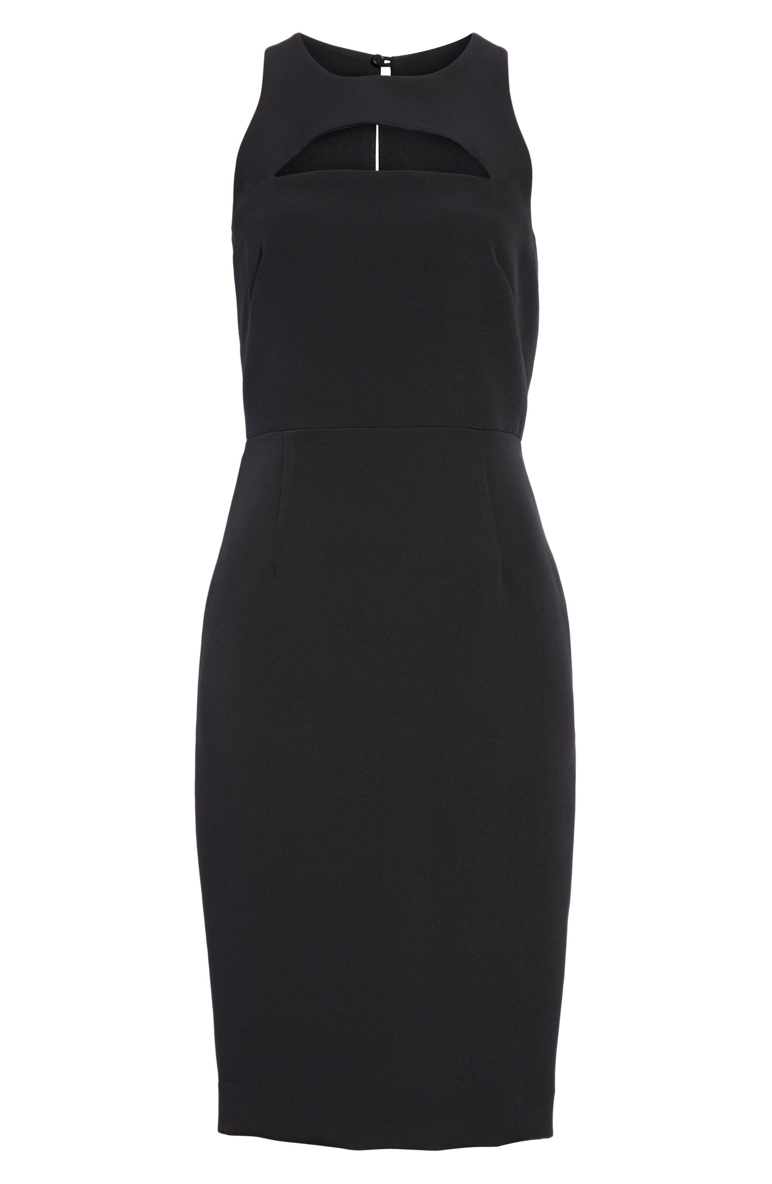 Luna Cutout Detail Crepe Sheath Dress,                             Alternate thumbnail 6, color,                             Black