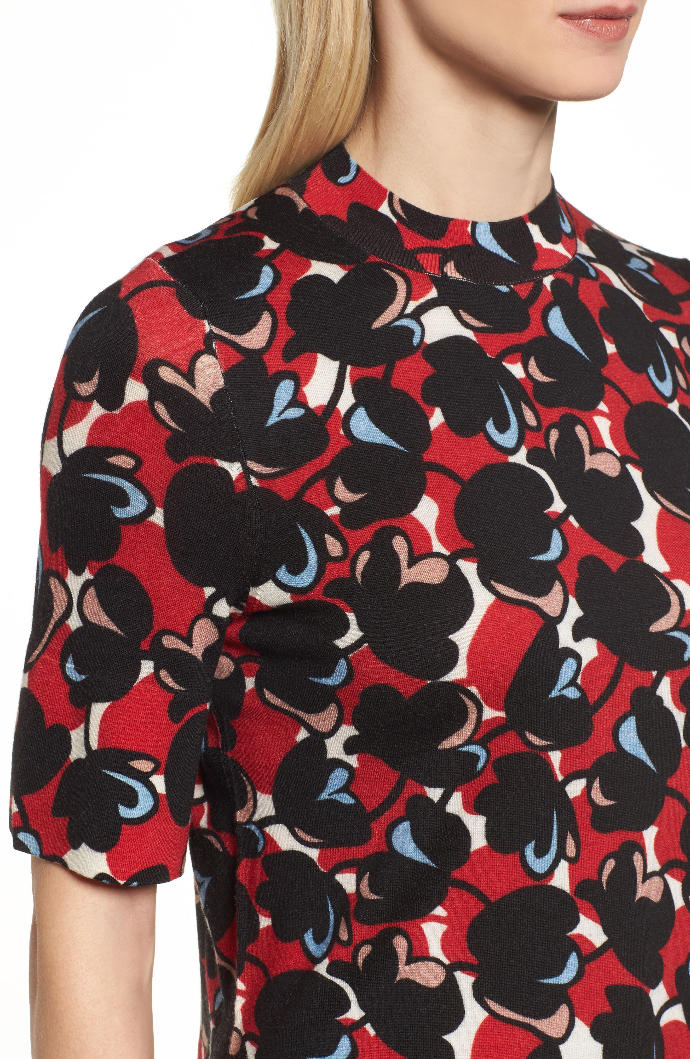 Fadeyka Print Wool Sweater,                             Alternate thumbnail 4, color,                             Flower Print
