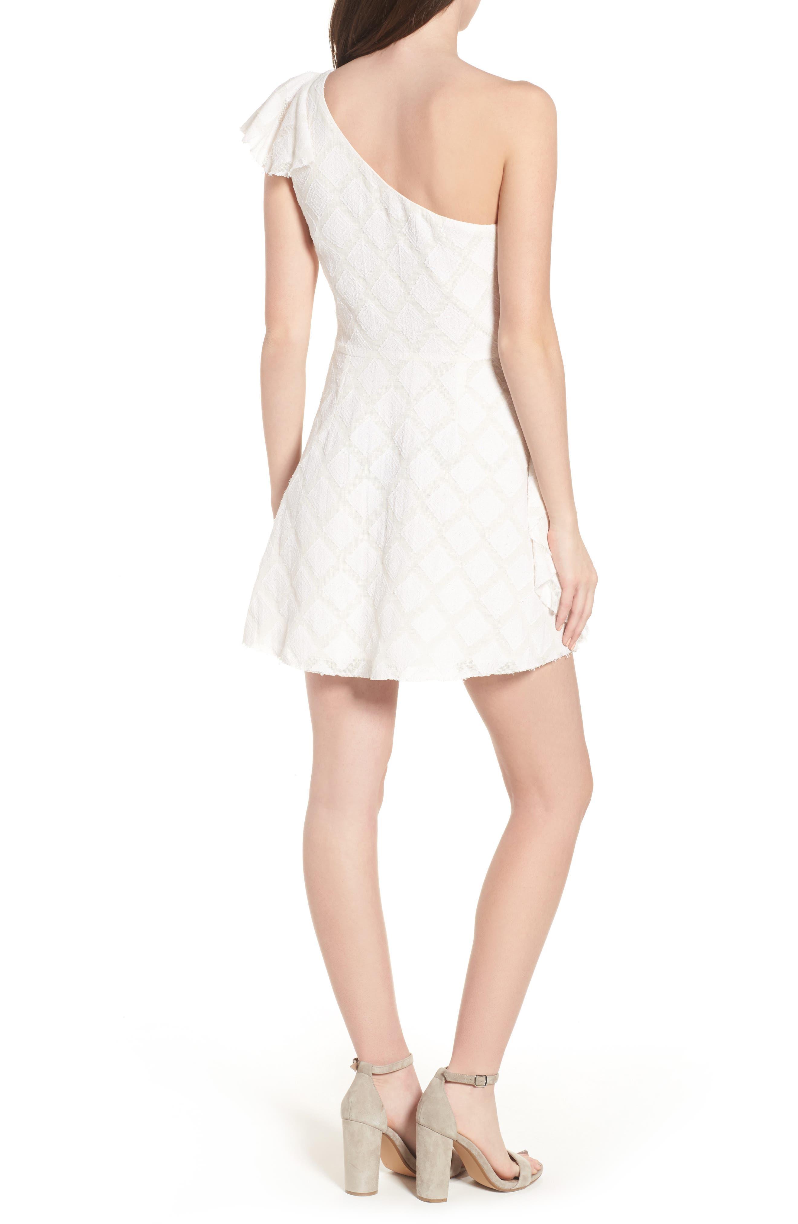 Aria One-Shoulder Dress,                             Alternate thumbnail 2, color,                             Ivory