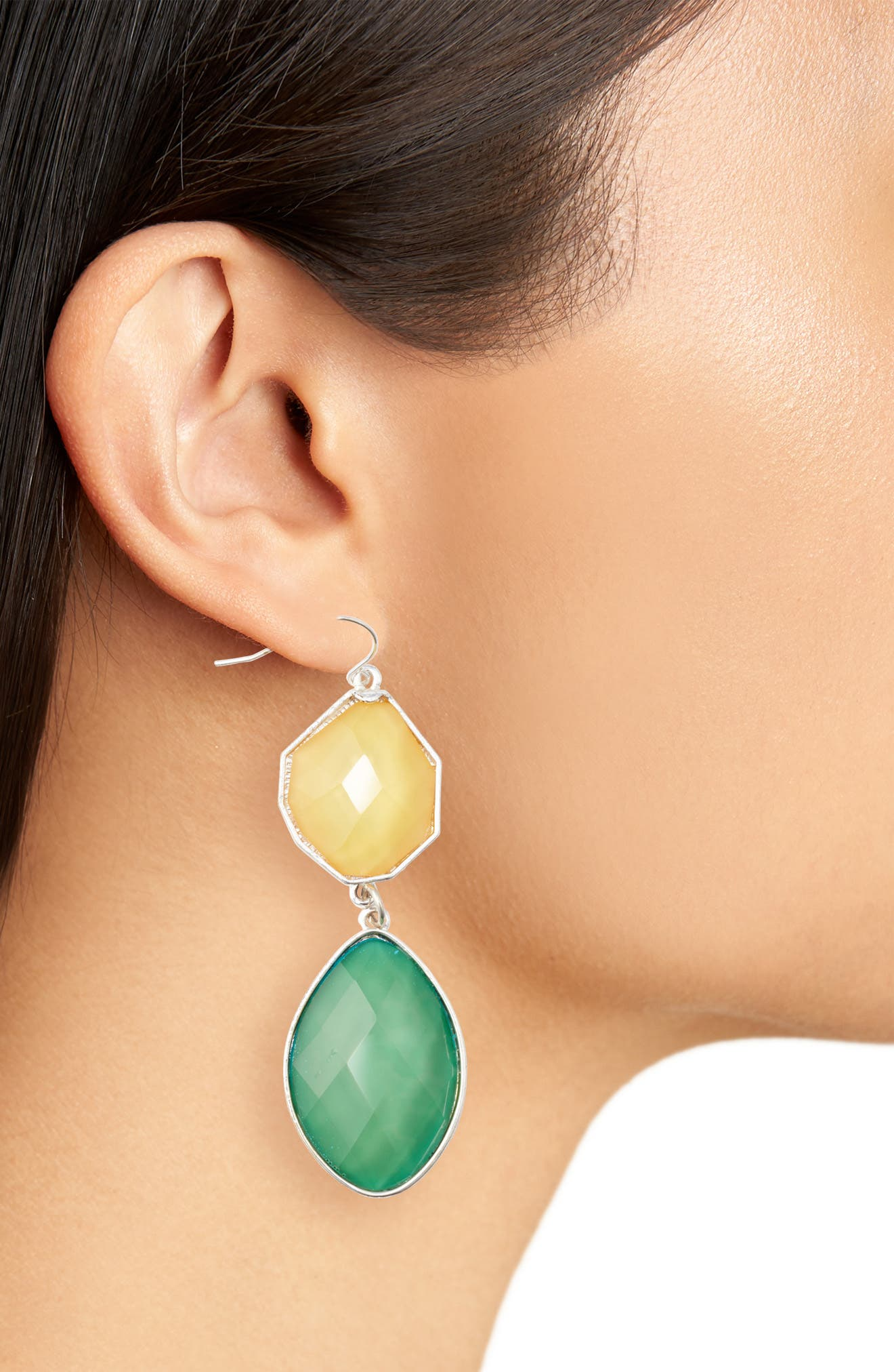Stone Drop Earrings,                             Alternate thumbnail 2, color,                             Light Green/ Yellow