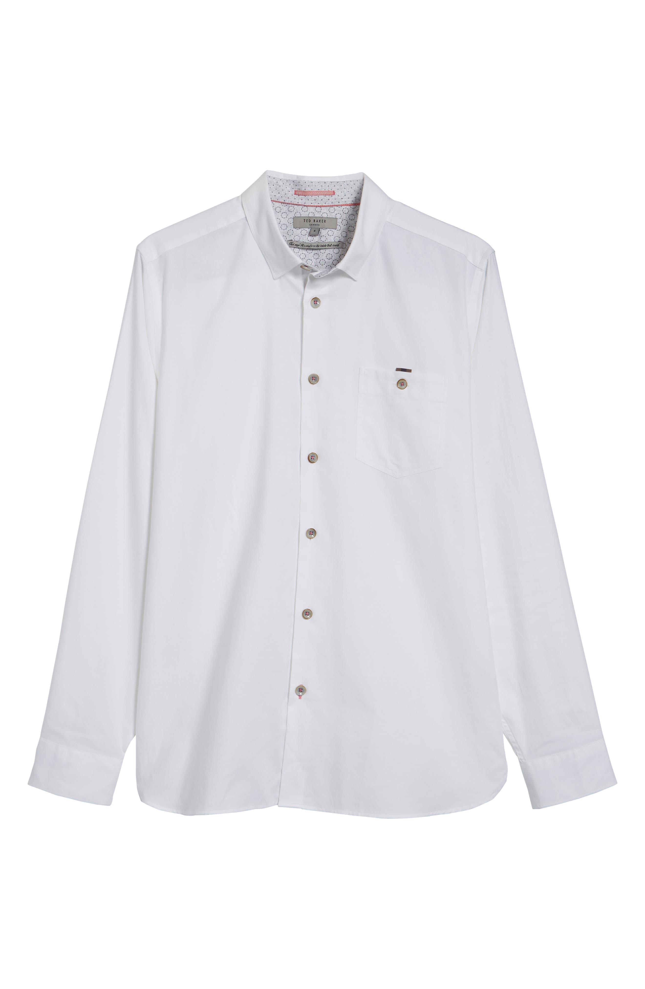 Slim Fit Textured Sport Shirt,                             Alternate thumbnail 6, color,                             White