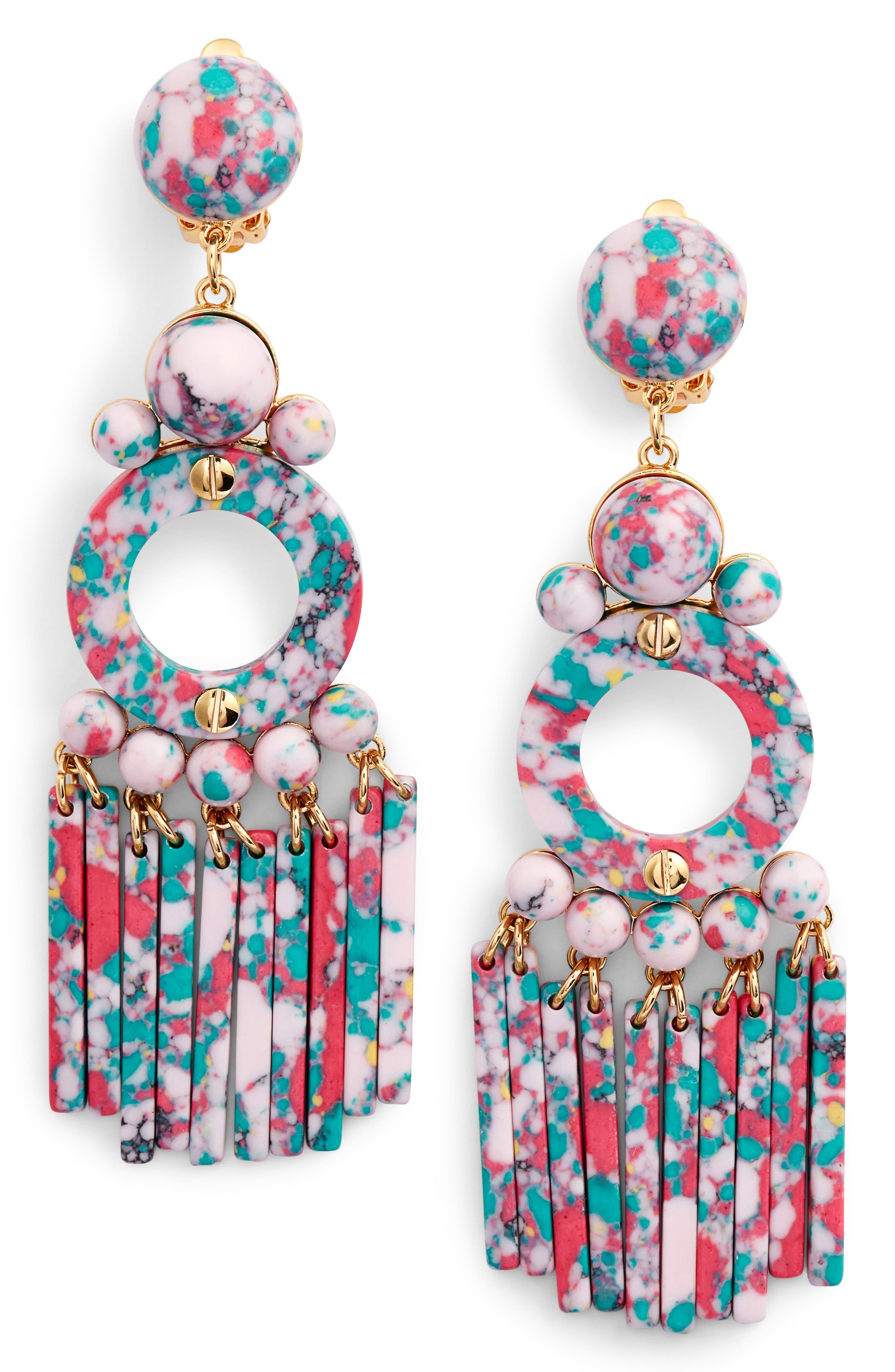 Samba Beaded Drop Earrings,                             Main thumbnail 1, color,                             Blush