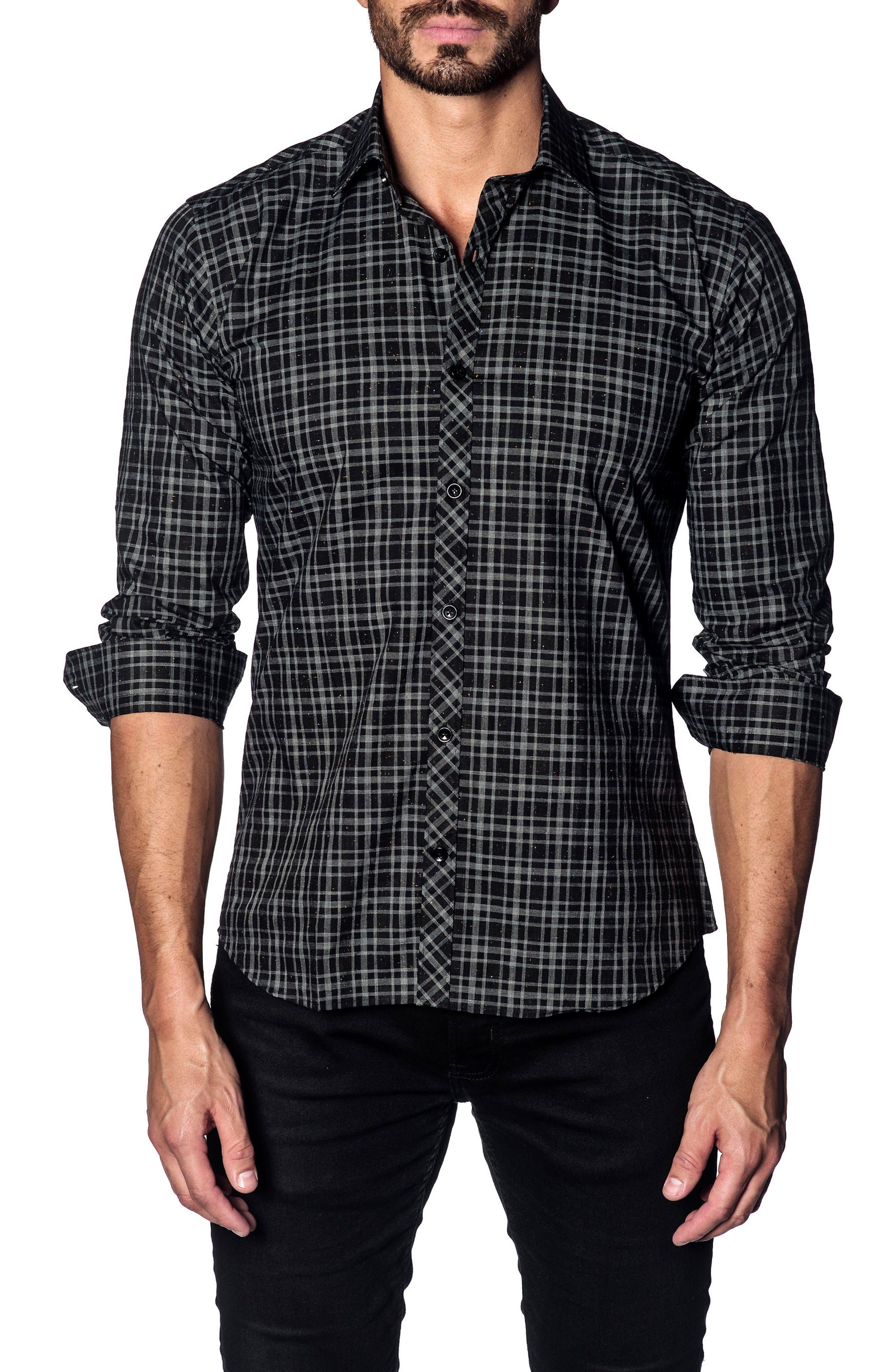 Jared Lang Slim Fit Speckled Plaid Sport Shirt