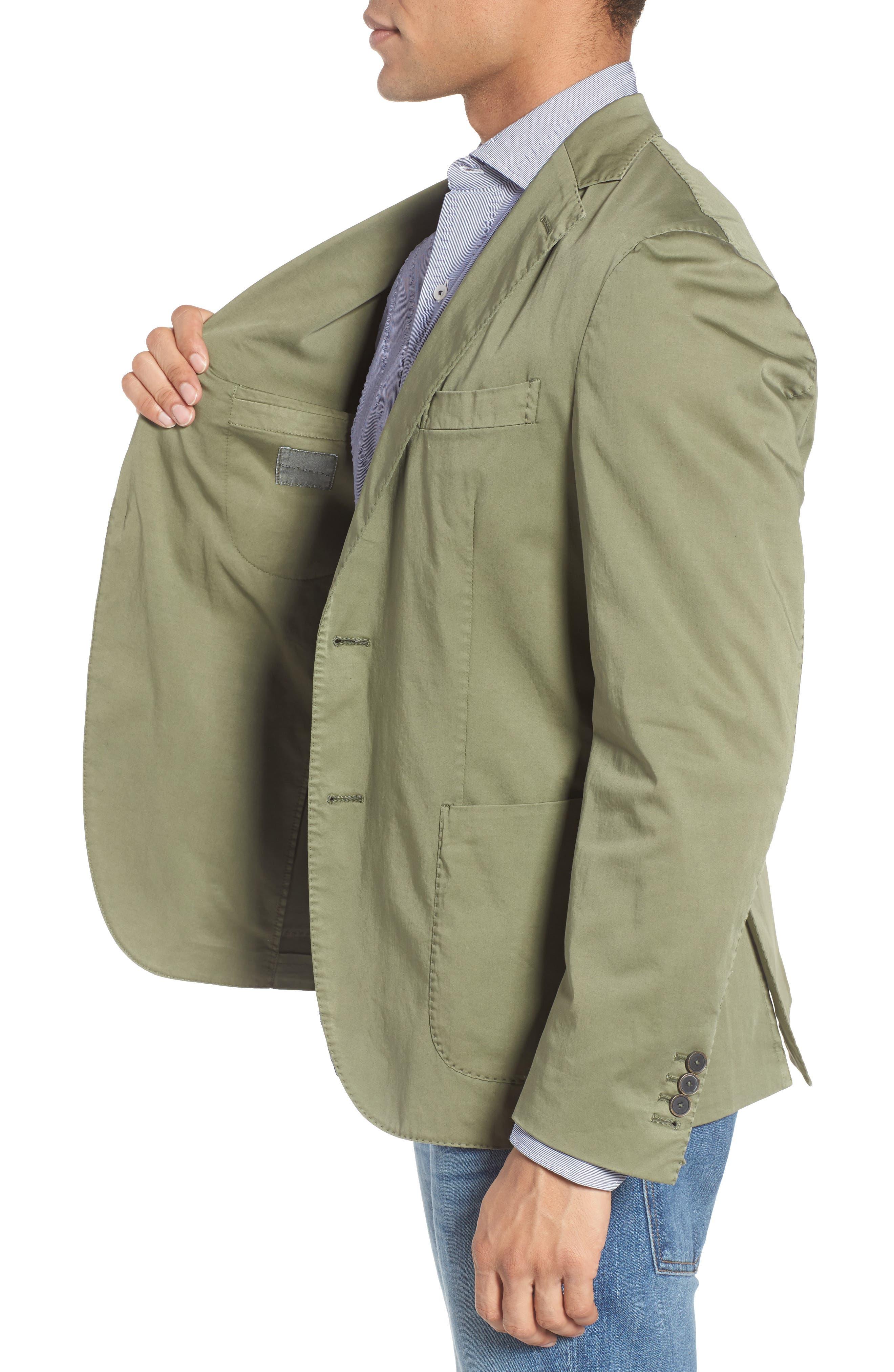 Trim Fit Stretch Cotton Blazer,                             Alternate thumbnail 3, color,                             Medium Green