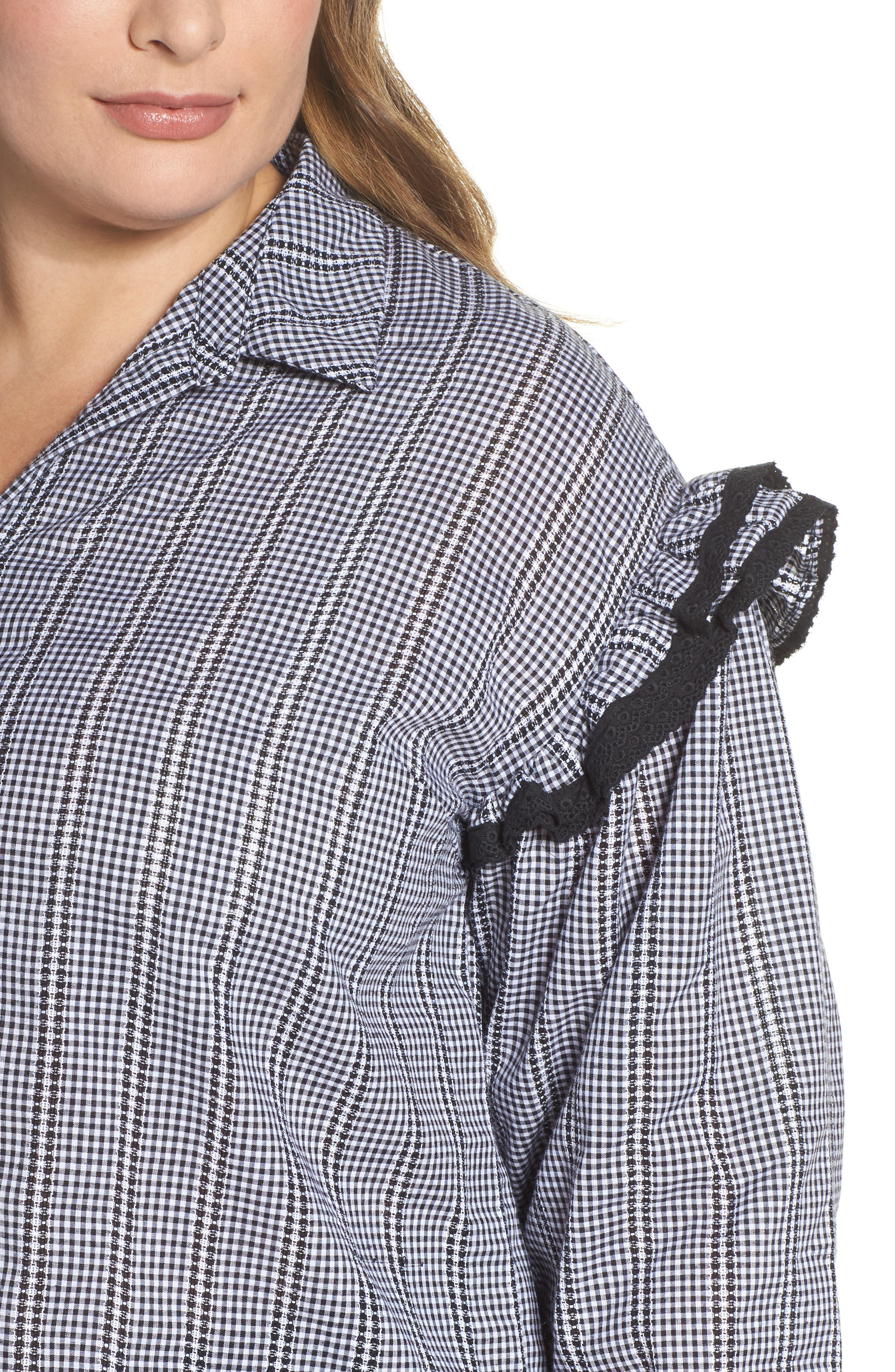 Gingham Ruffle Sleeve Shirt,                             Alternate thumbnail 4, color,                             Multi