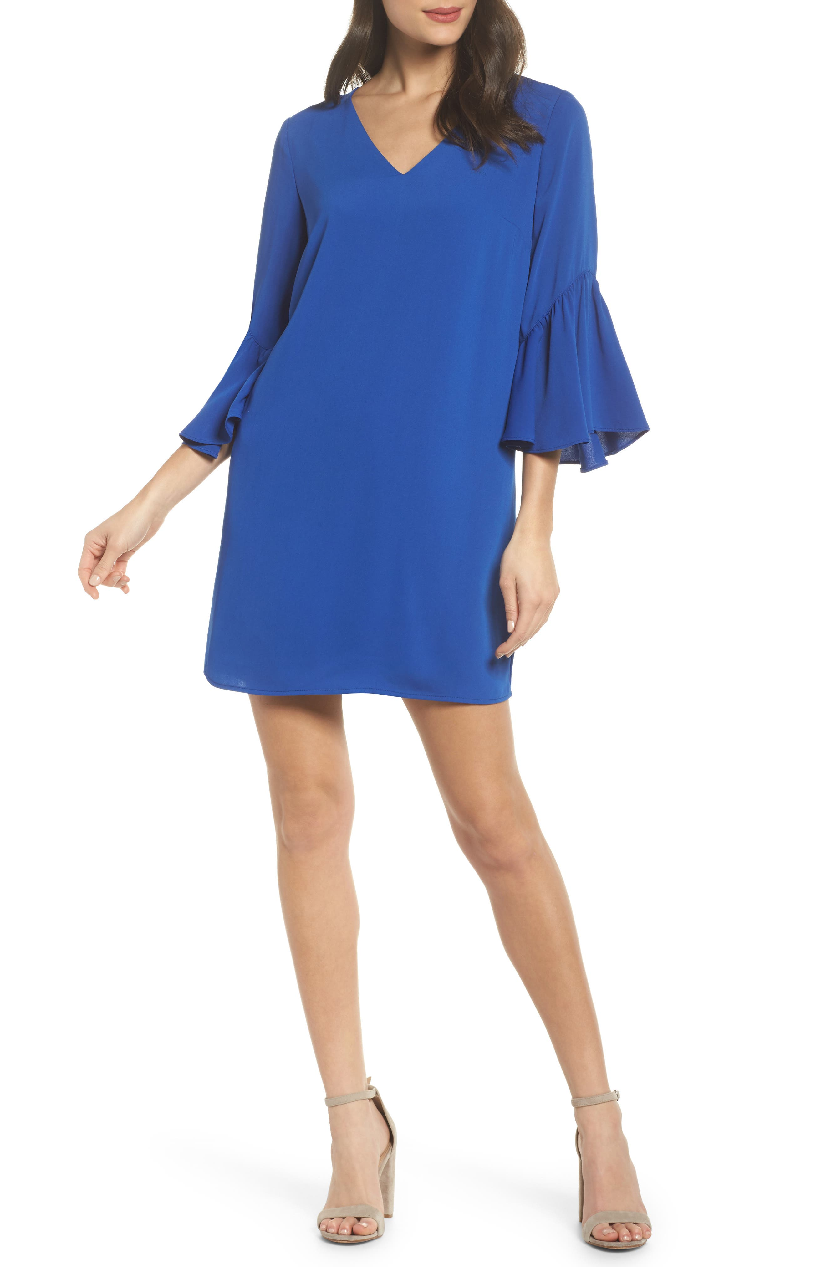 Bell Sleeve Shift Dress,                             Main thumbnail 1, color,                             Blue Surf