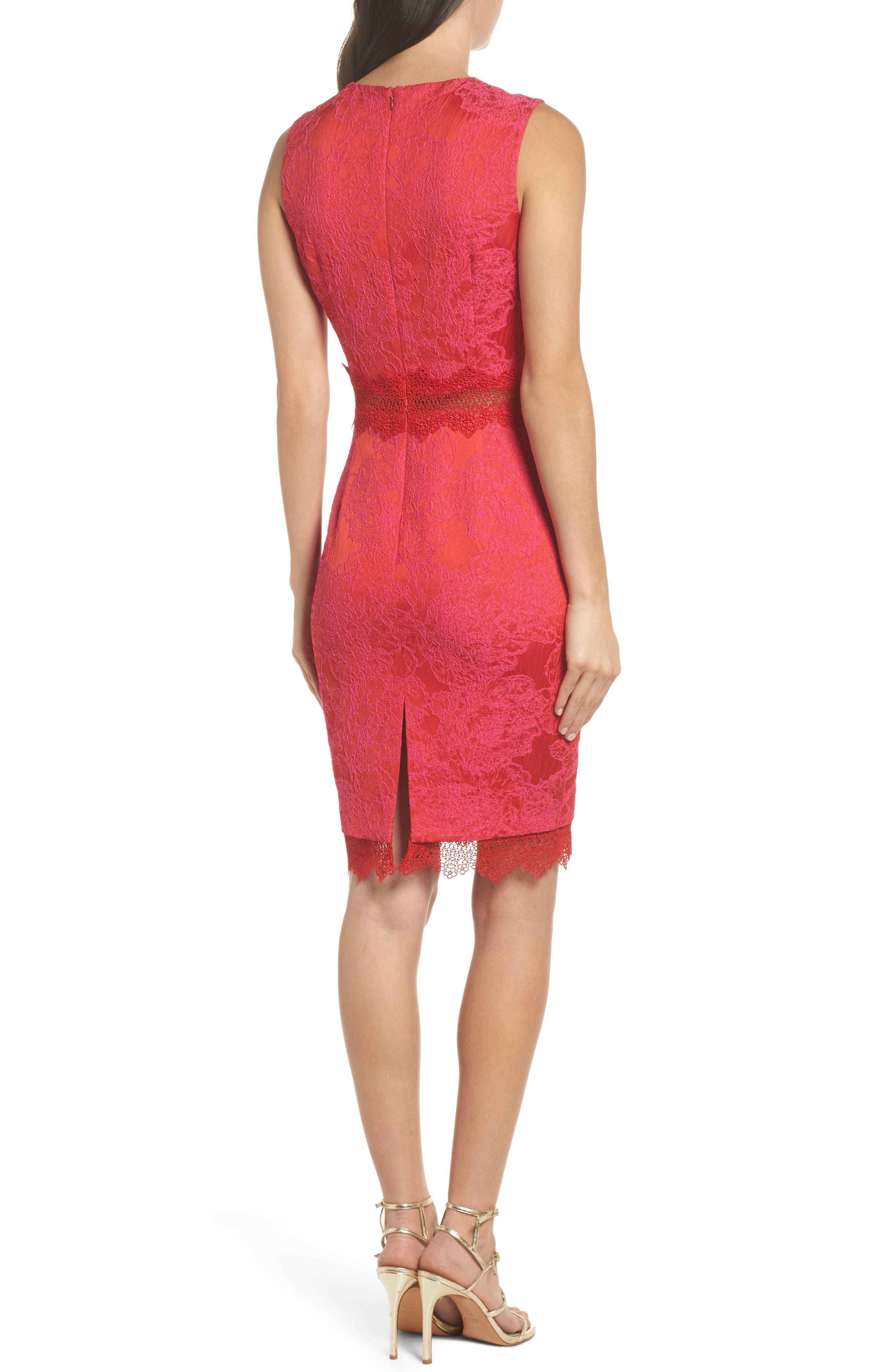 Lace Panel Sheath Dress,                             Alternate thumbnail 2, color,                             Red Multi