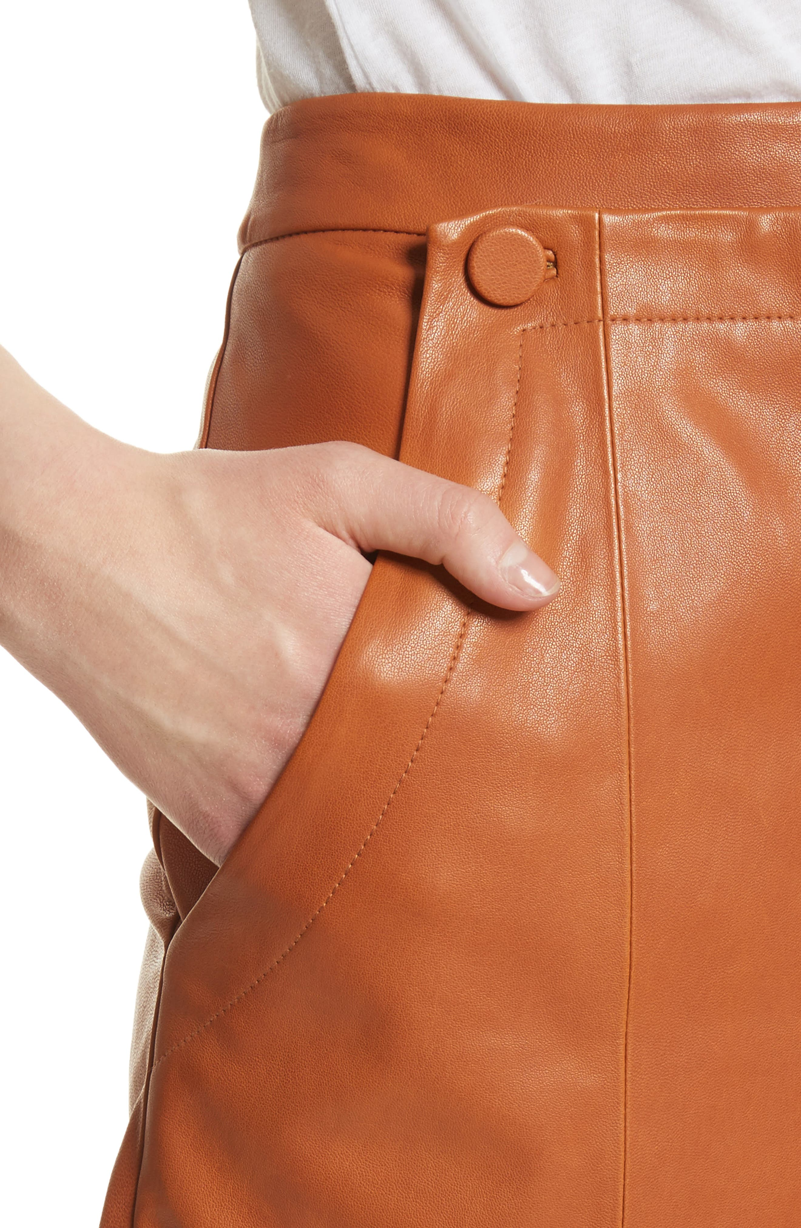 Leather Sailor Shorts,                             Alternate thumbnail 4, color,                             Ginger