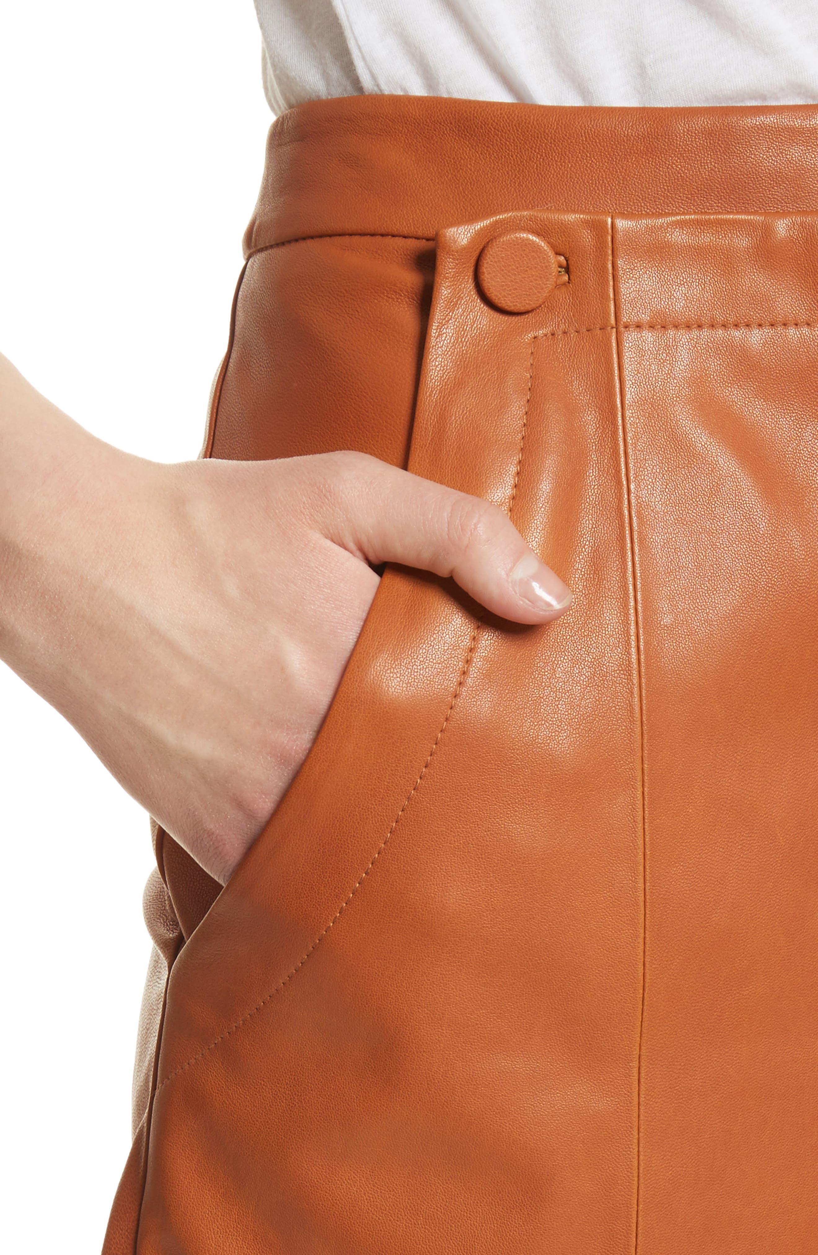 Leather Sailor Shorts,                             Alternate thumbnail 5, color,                             Ginger