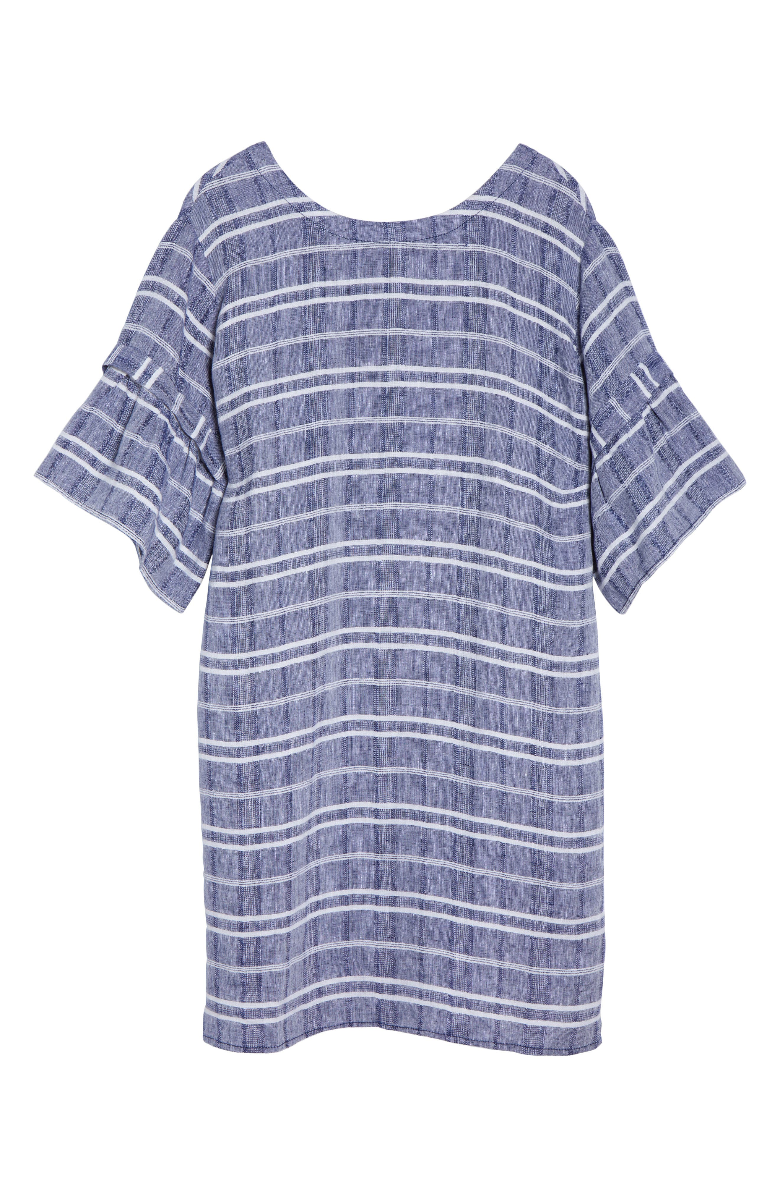 Tie Back Linen Dress,                             Alternate thumbnail 6, color,                             Navy- White Plaid