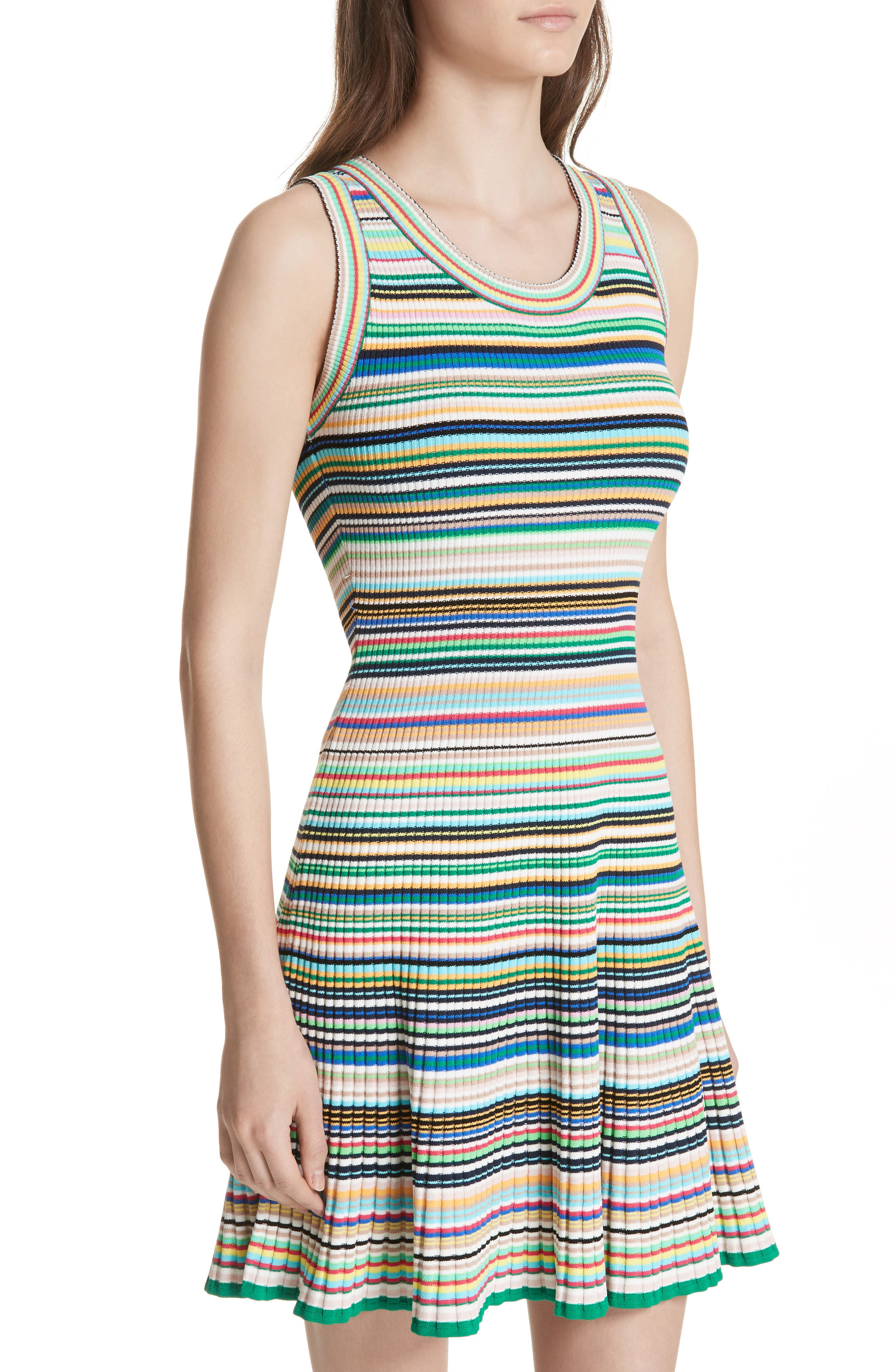 Microstripe Knit Fit & Flare Dress,                             Alternate thumbnail 4, color,                             Rainbow Multi