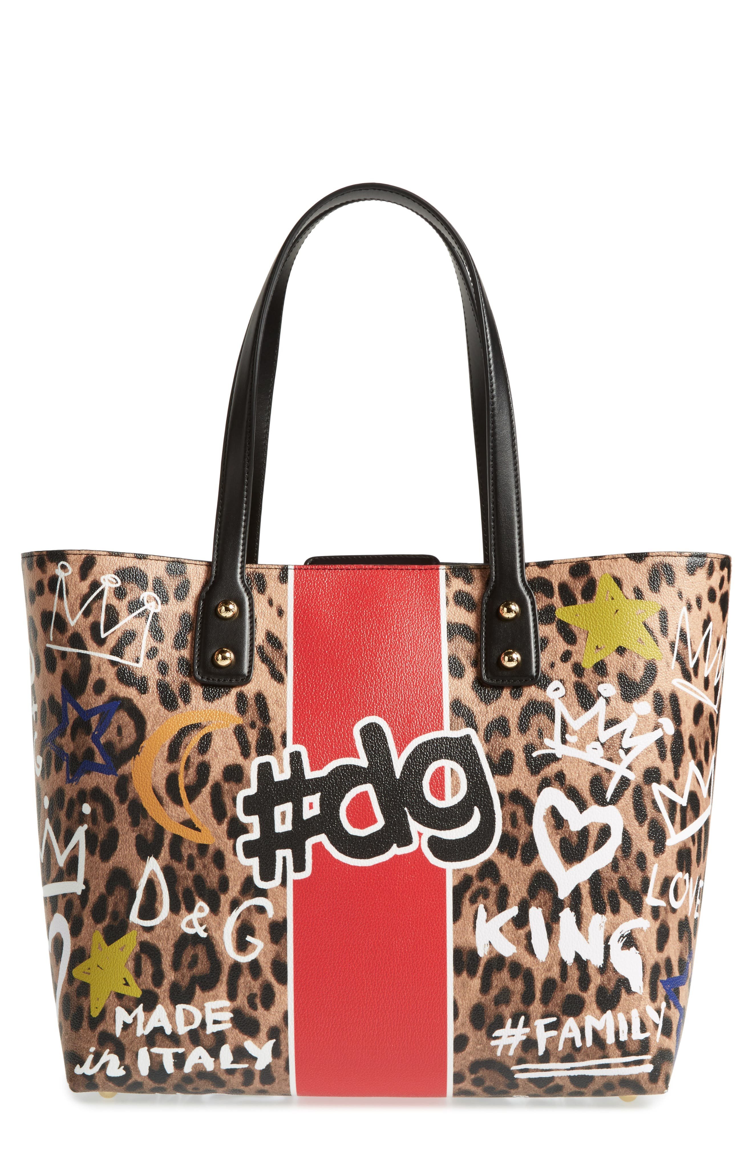 Dolce&Gabbana Large Hashtag Graffiti Leather Tote