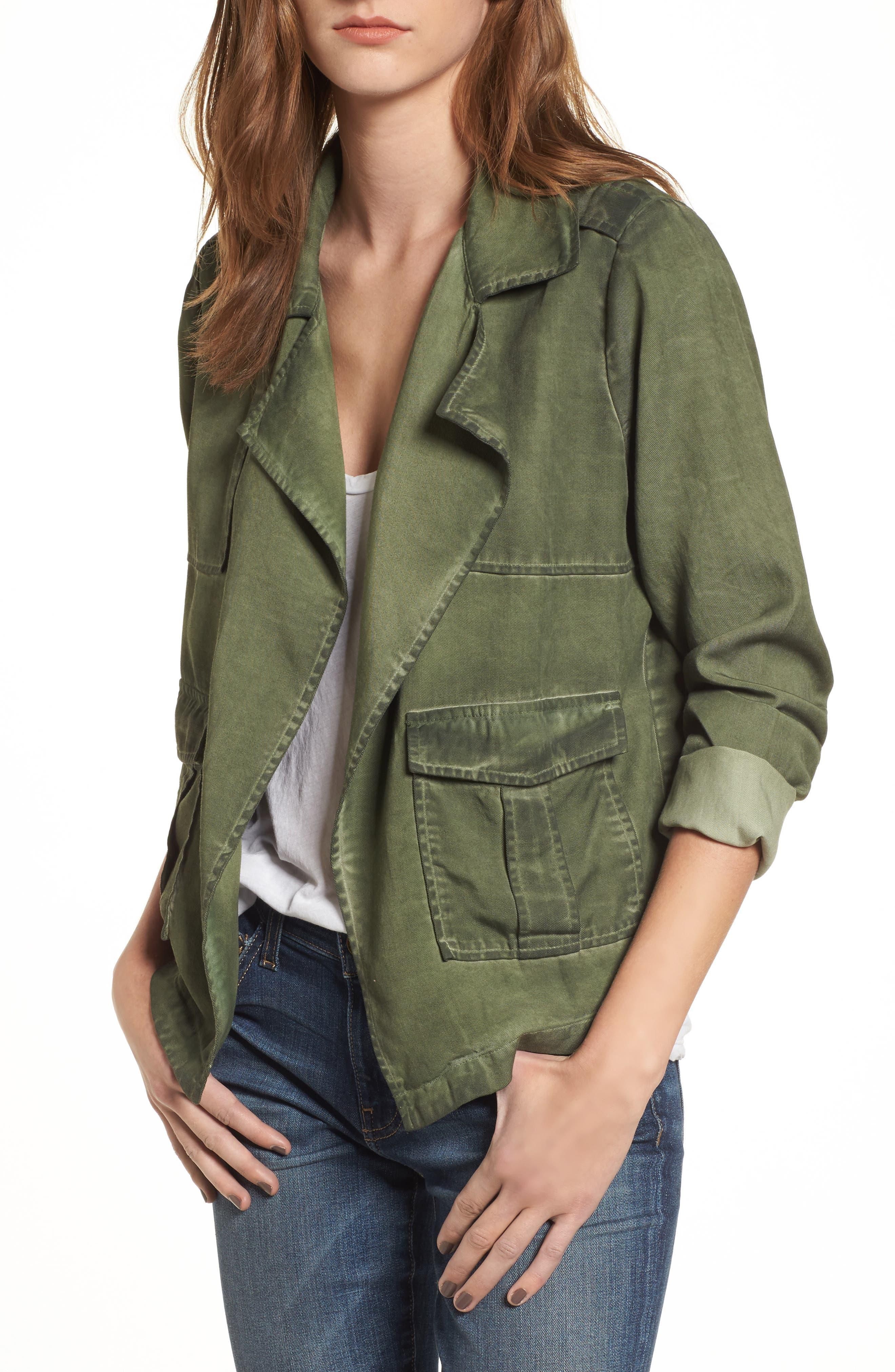Draped Front Jacket,                         Main,                         color, Olive