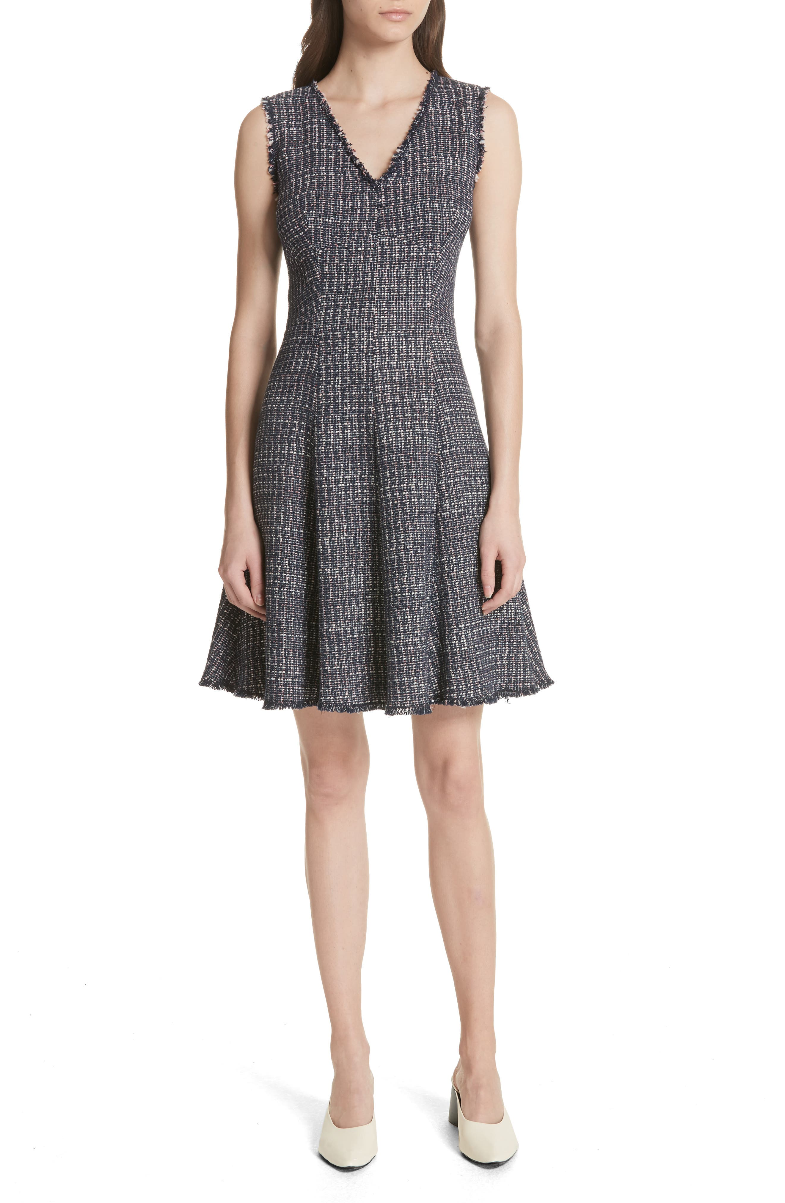 Multi Tweed Fit & Flare Dress,                             Main thumbnail 1, color,                             Navy Combo