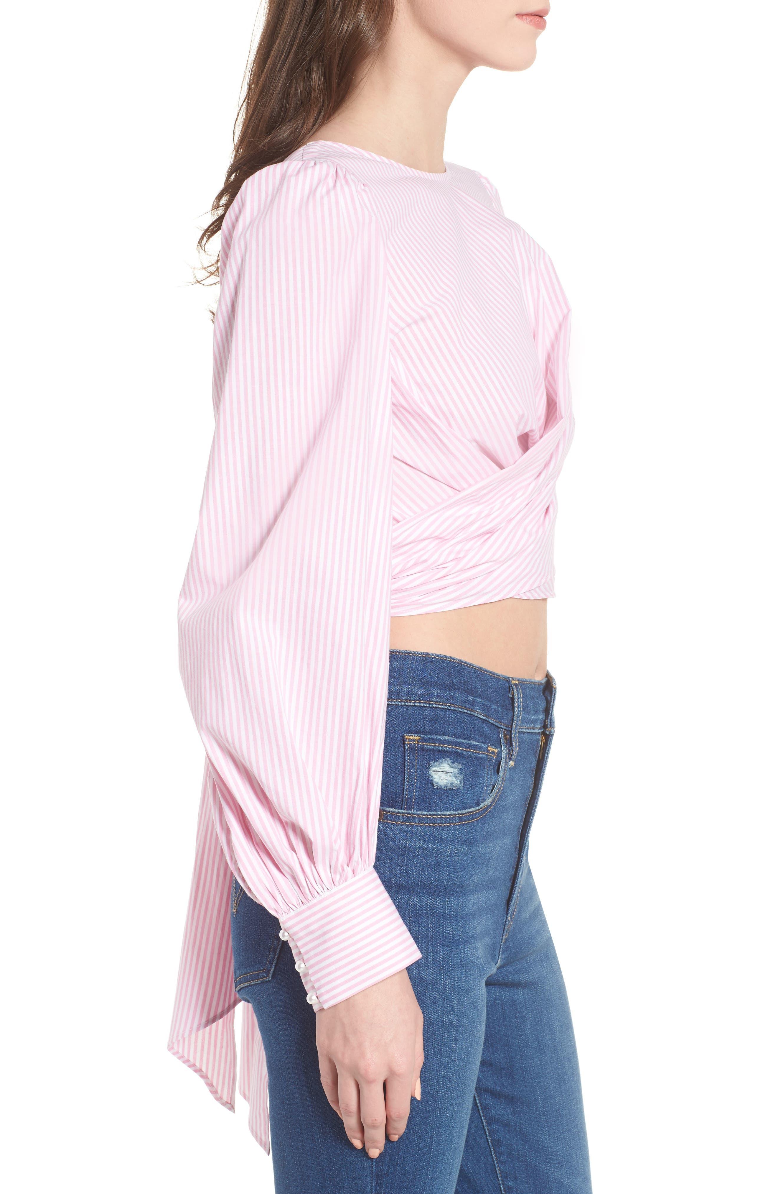 Dayna Tie Back Poplin Top,                             Alternate thumbnail 5, color,                             Pink Stripe