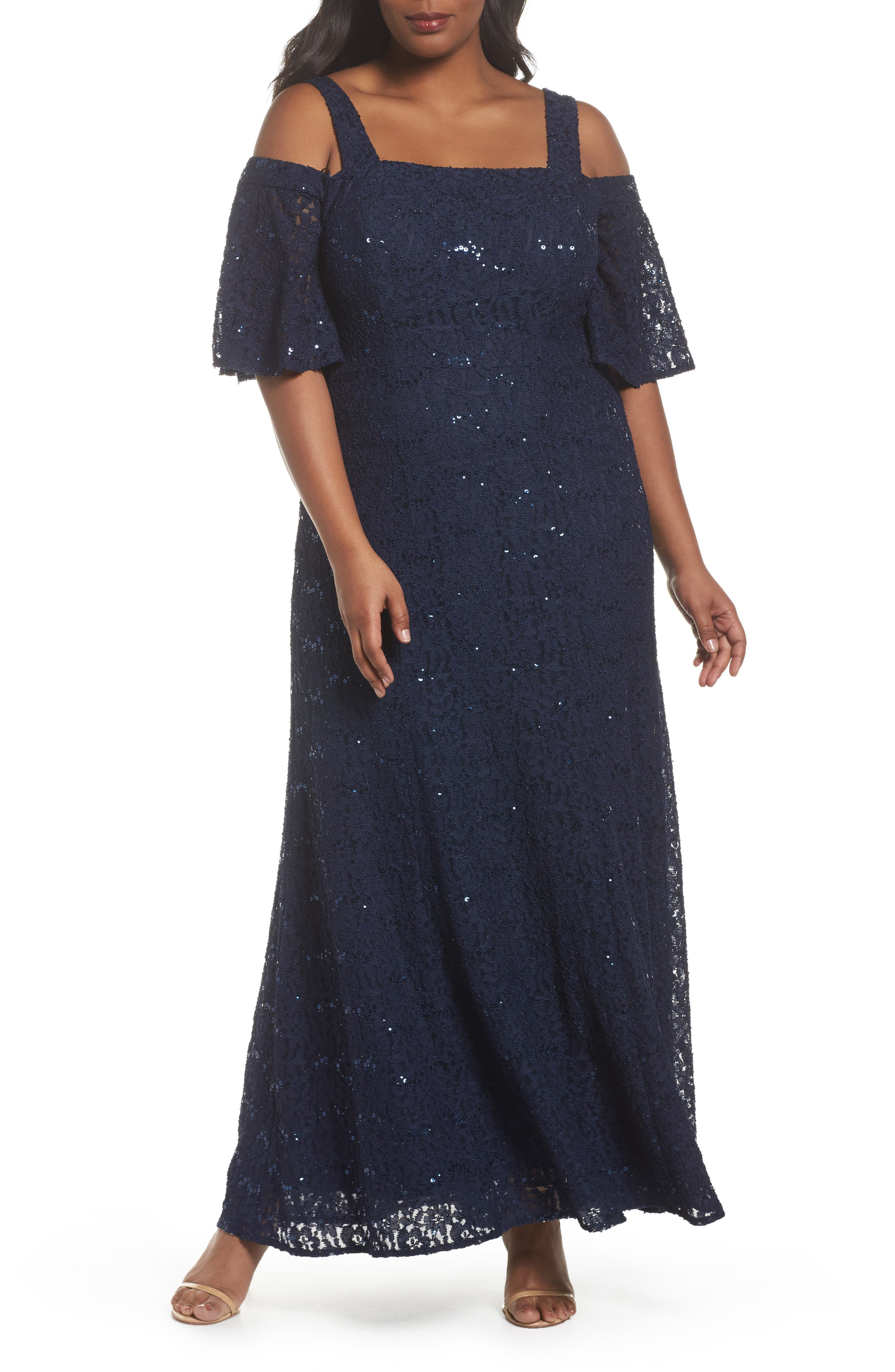 Embellished Lace Cold Shoulder Gown,                             Main thumbnail 1, color,                             Navy