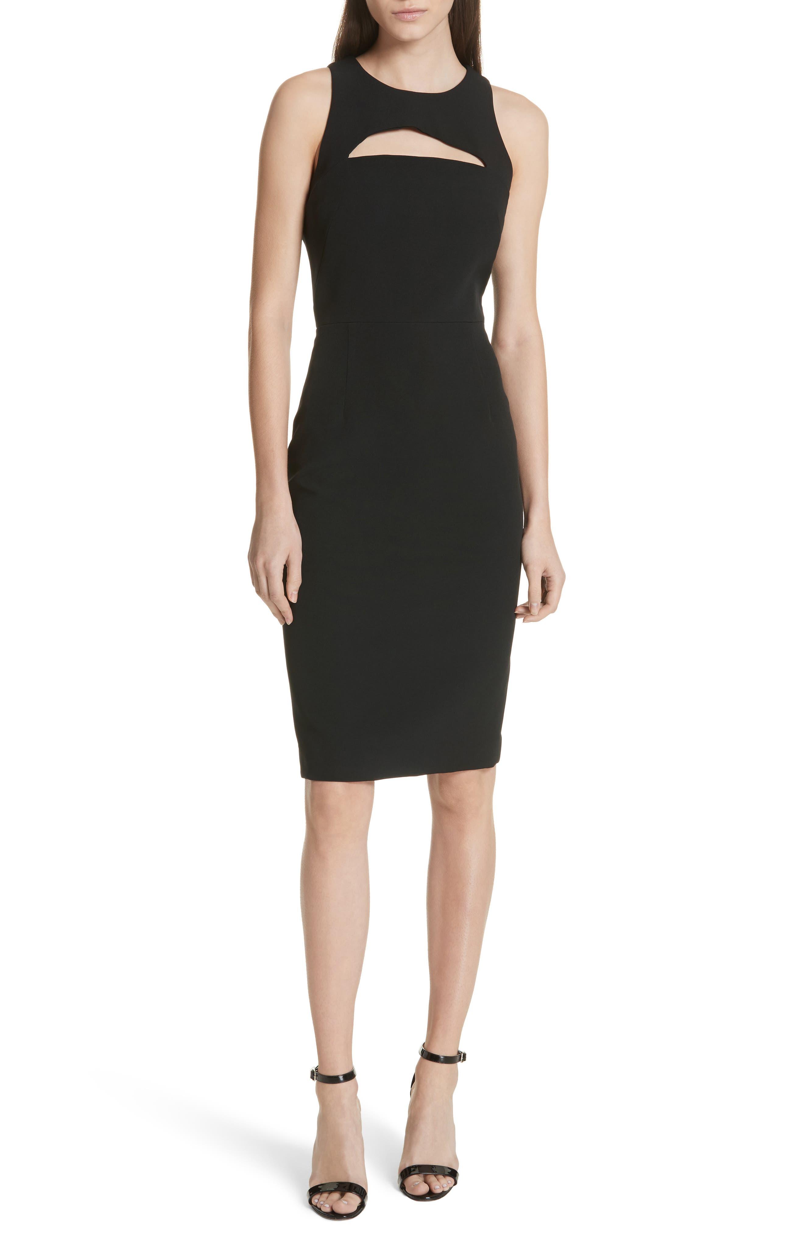 Luna Cutout Detail Crepe Sheath Dress,                             Main thumbnail 1, color,                             Black