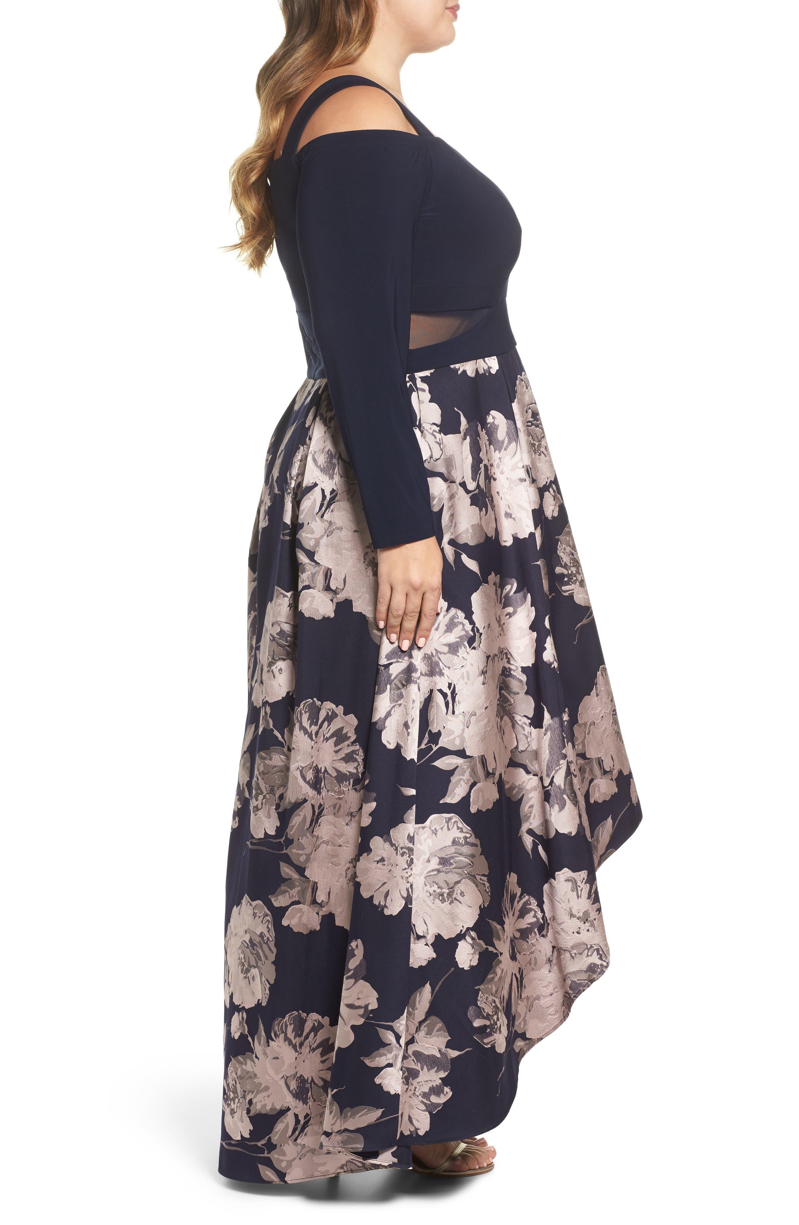 Alternate Image 3  - Xscape Cold Shoulder Brocade High/Low Dress (Plus Size)