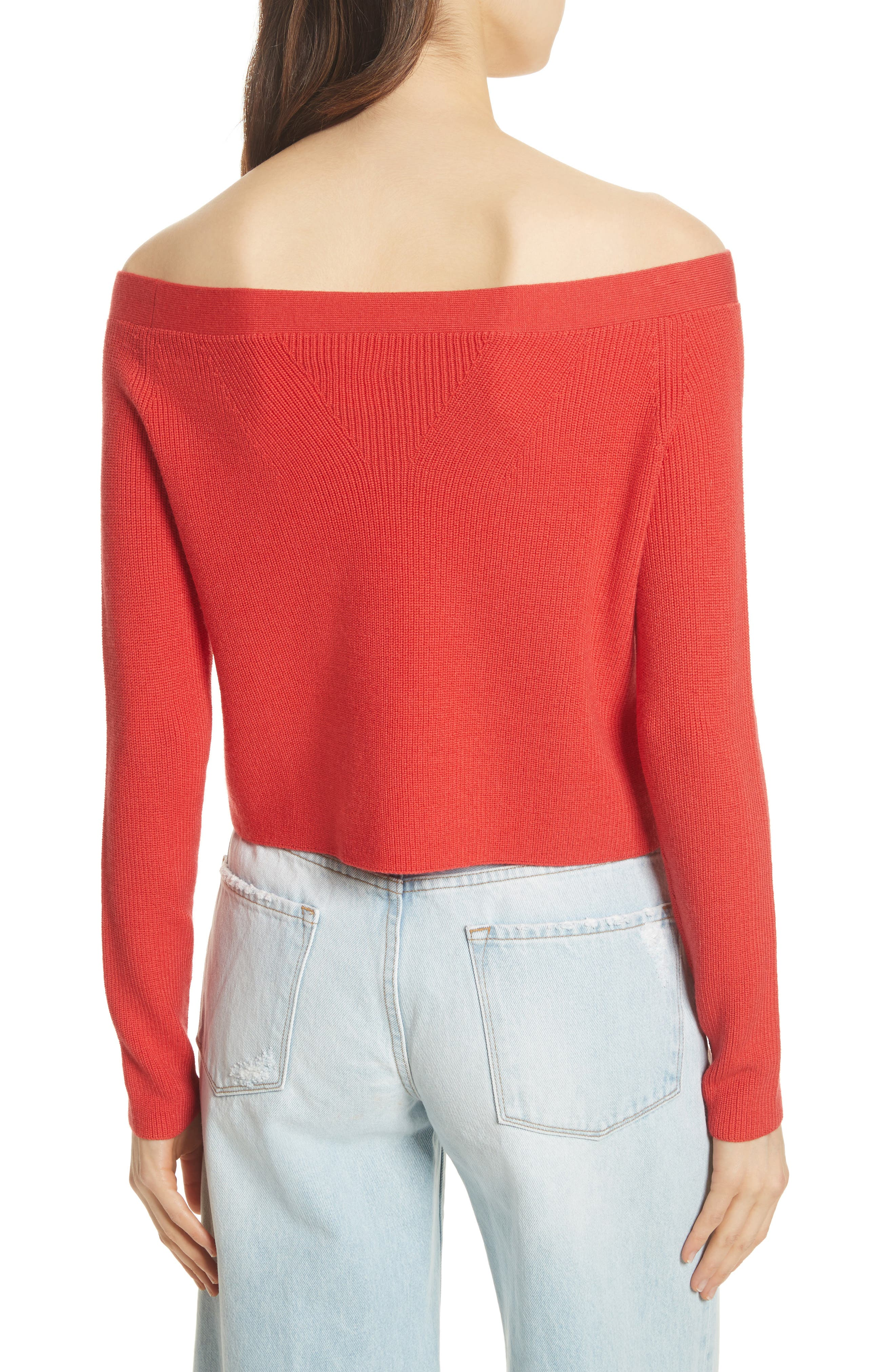 Off the Shoulder Crop Sweater,                             Alternate thumbnail 2, color,                             Summer Red