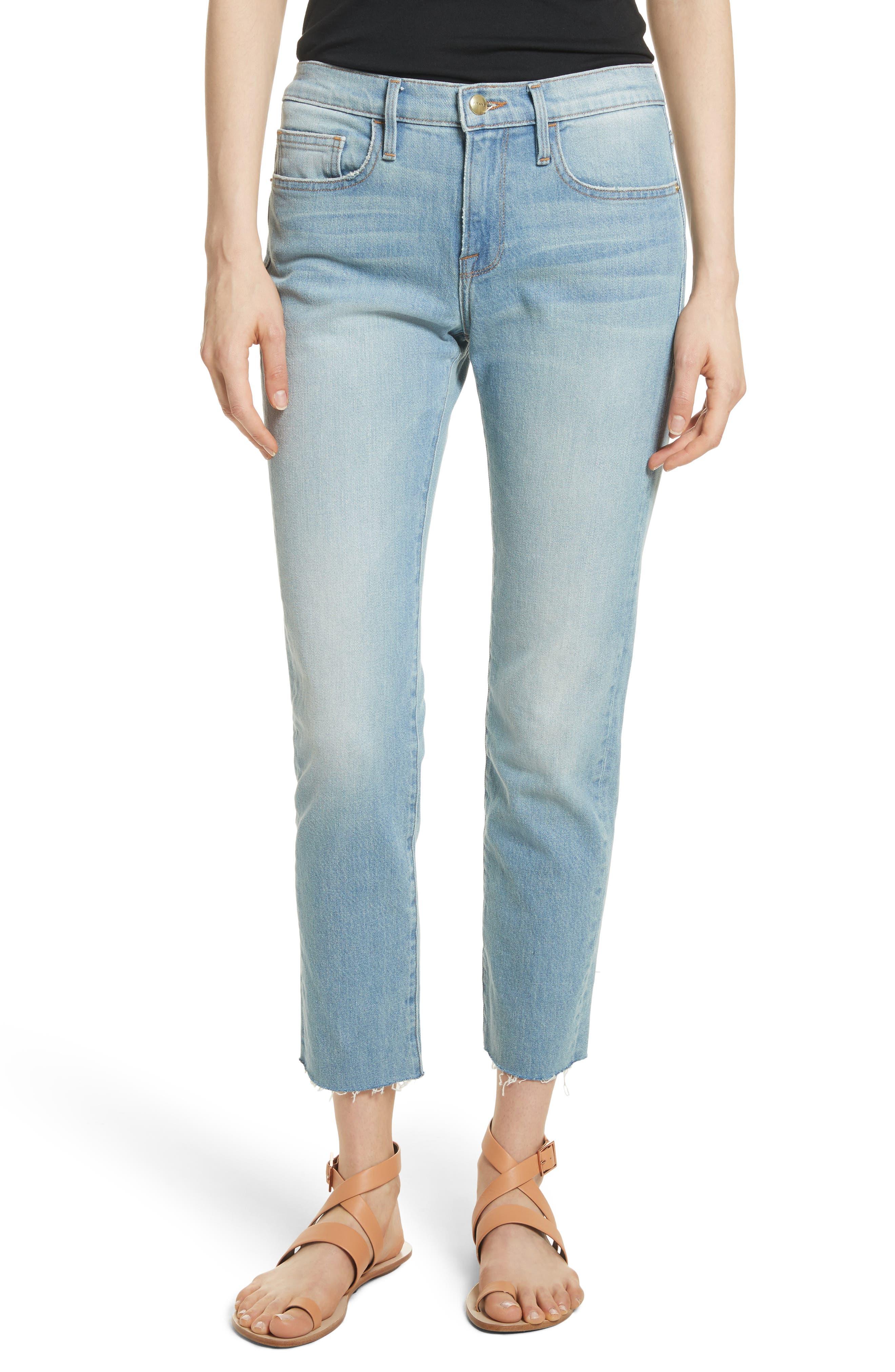 Le Boy High Waist Raw Hem Jeans,                             Main thumbnail 1, color,                             Pamder End