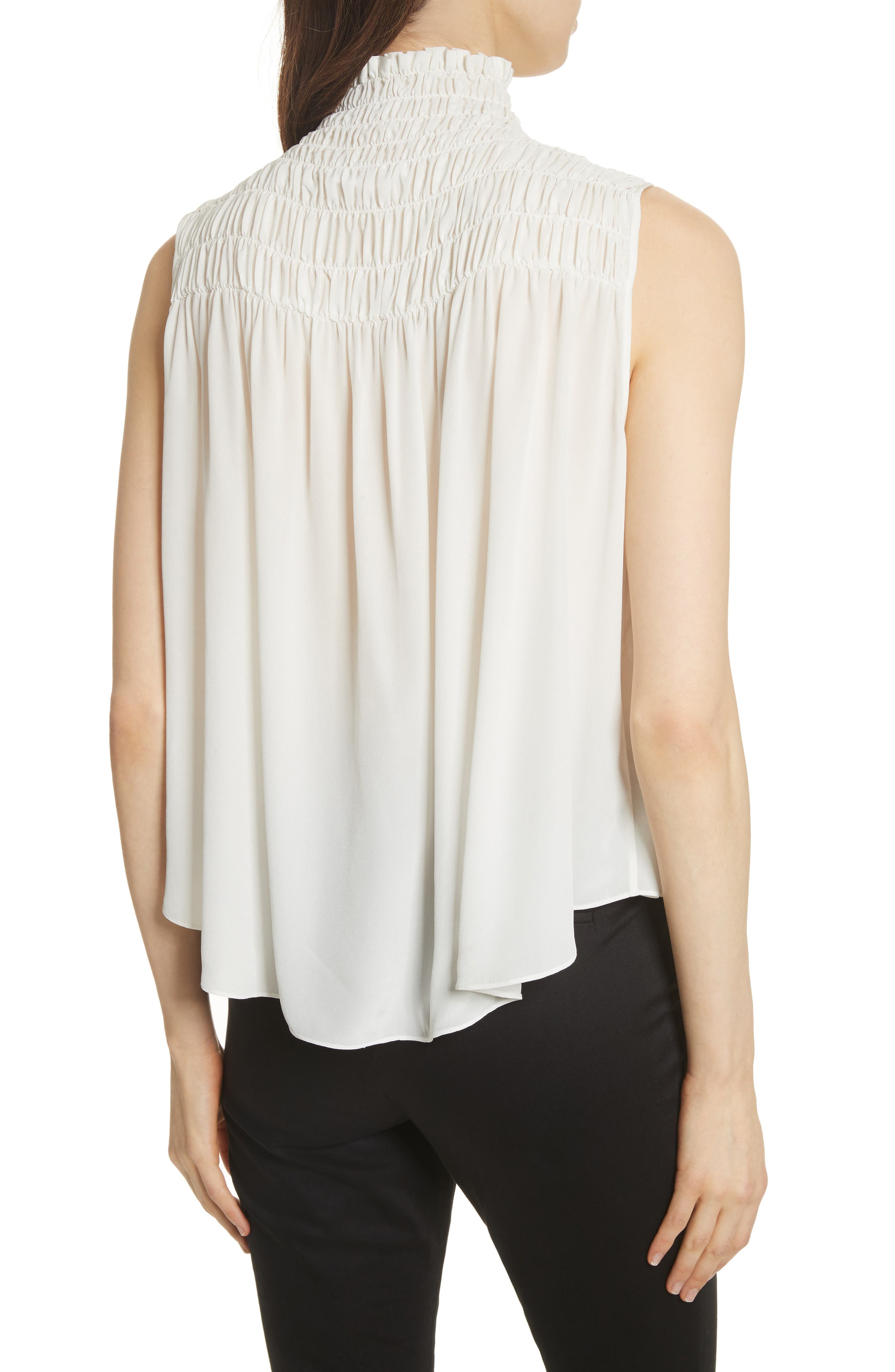 Smocked Sleeveless Silk Blouse,                             Alternate thumbnail 2, color,                             Off White