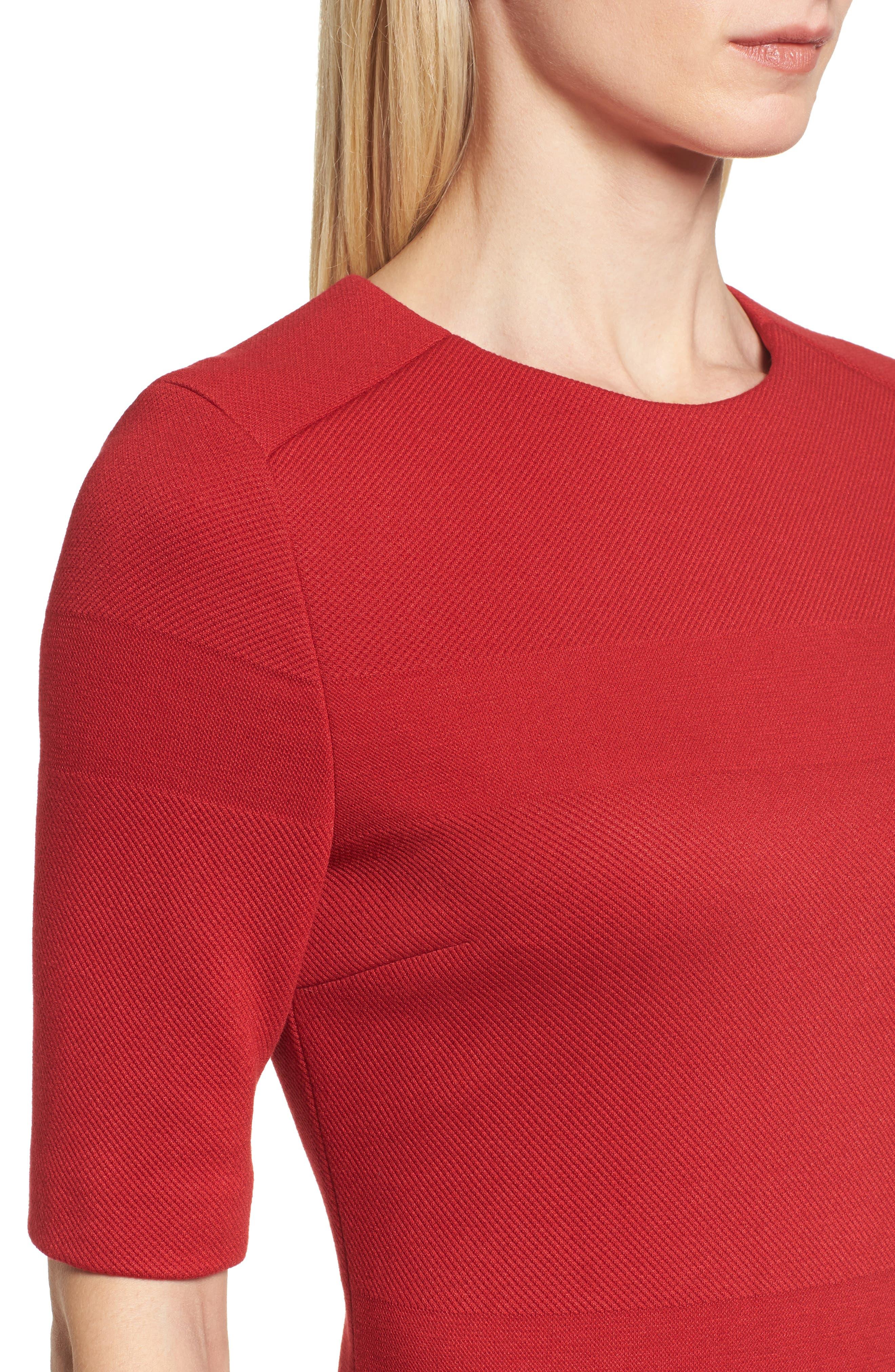 Hibela Tonal Stripe Dress,                             Alternate thumbnail 4, color,                             Crimson Red