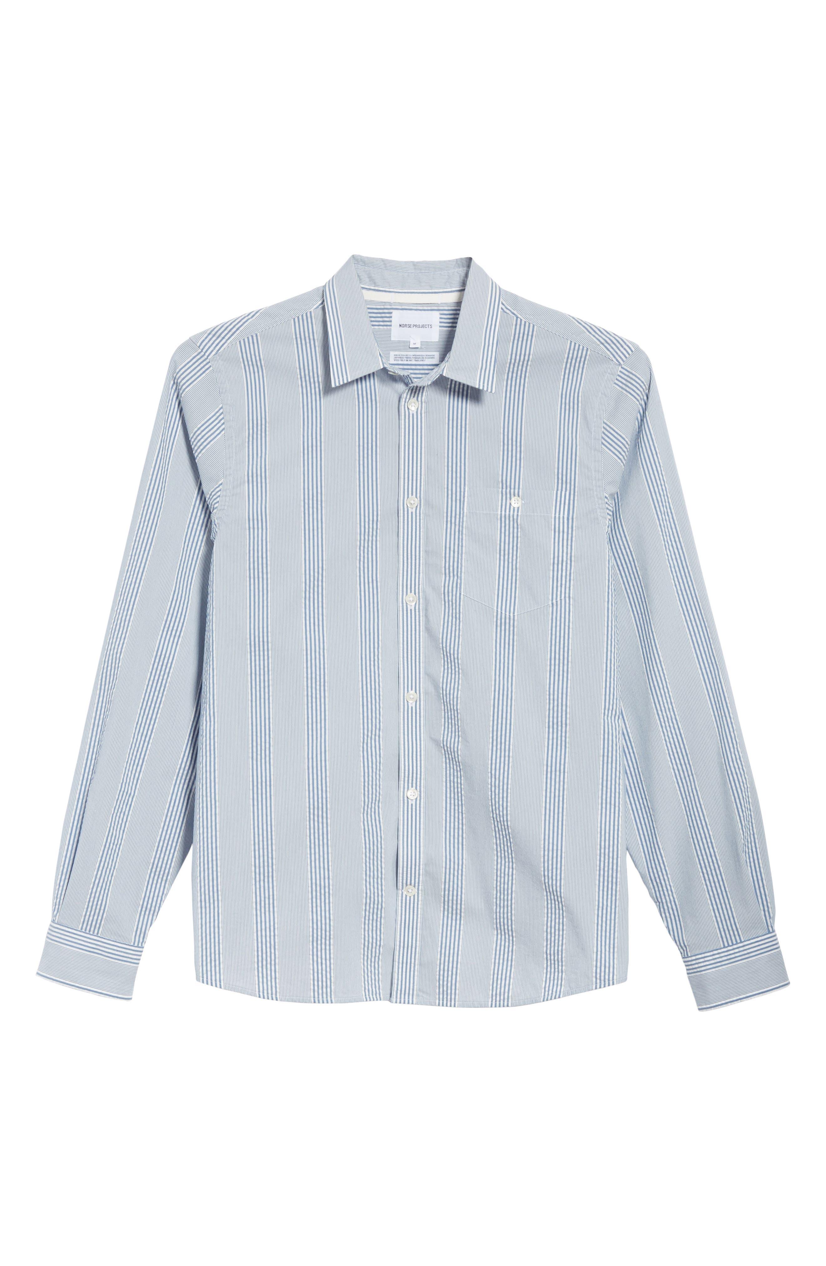 Osvald Seersucker Shirt,                             Alternate thumbnail 6, color,                             Luminous Blue