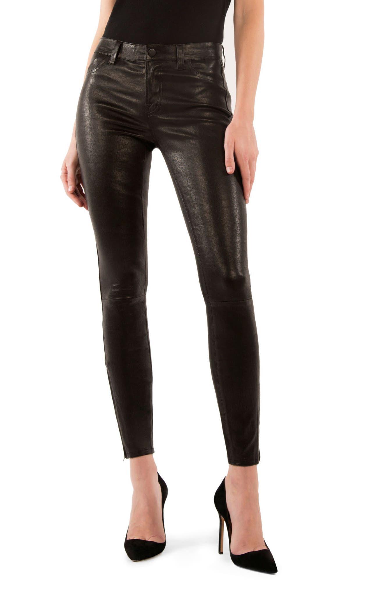 '8001' Lambskin Leather Pants,                         Main,                         color, Noir