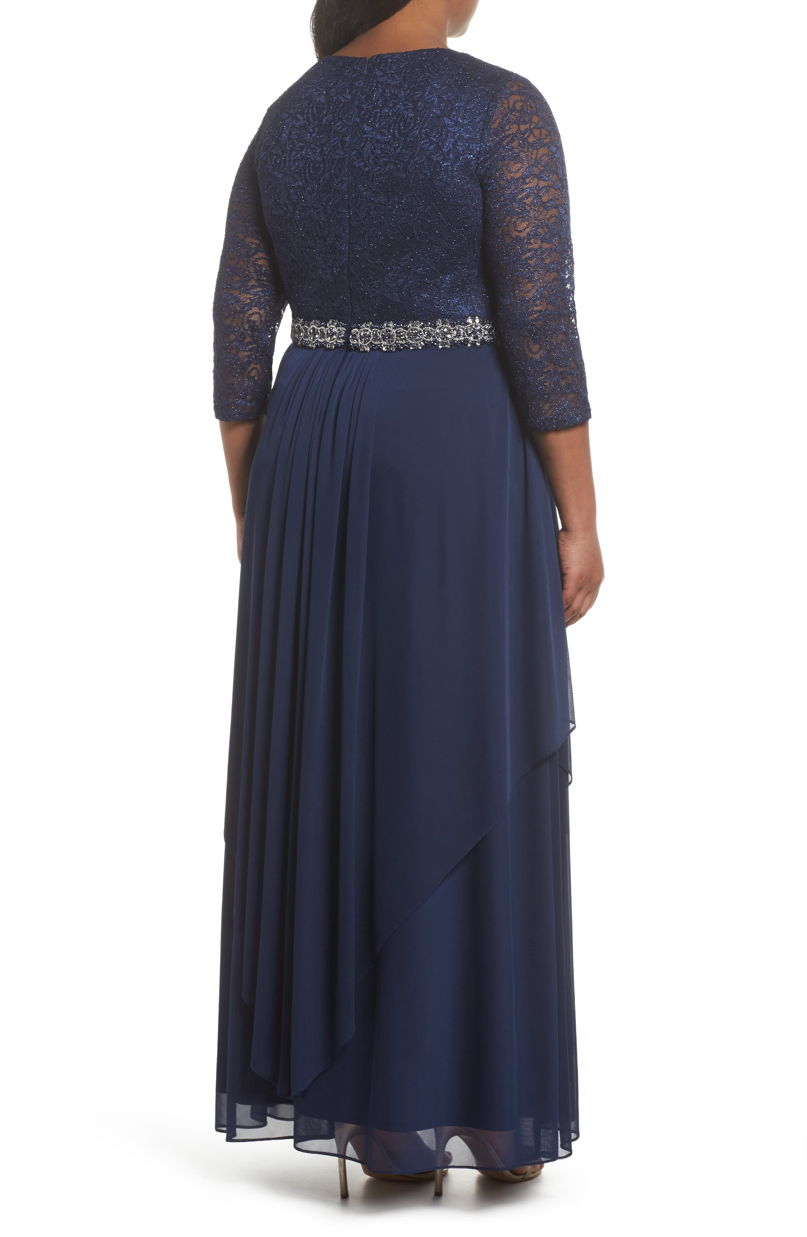 Embellished Lace & Tiered Chiffon Gown,                             Alternate thumbnail 2, color,                             Navy