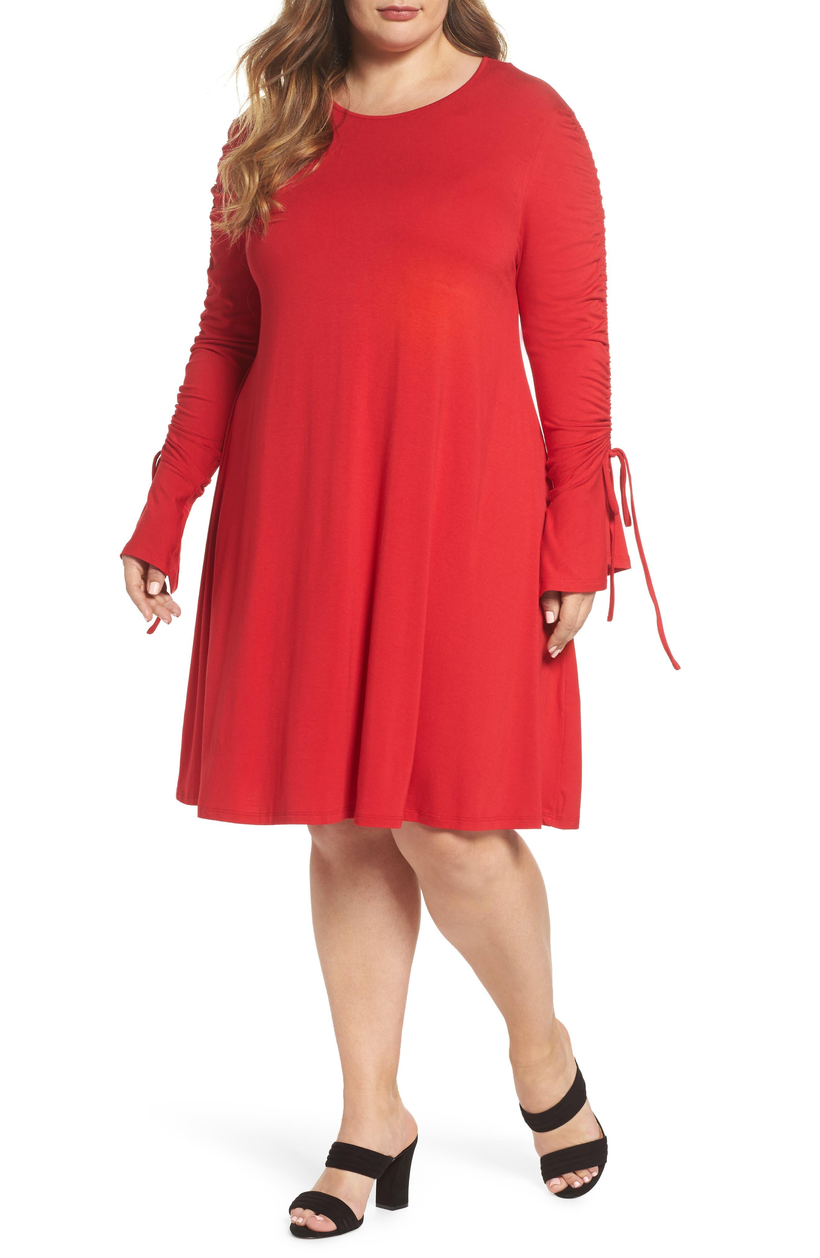 Tulip Sleeve Shift Dress,                             Main thumbnail 1, color,                             Red
