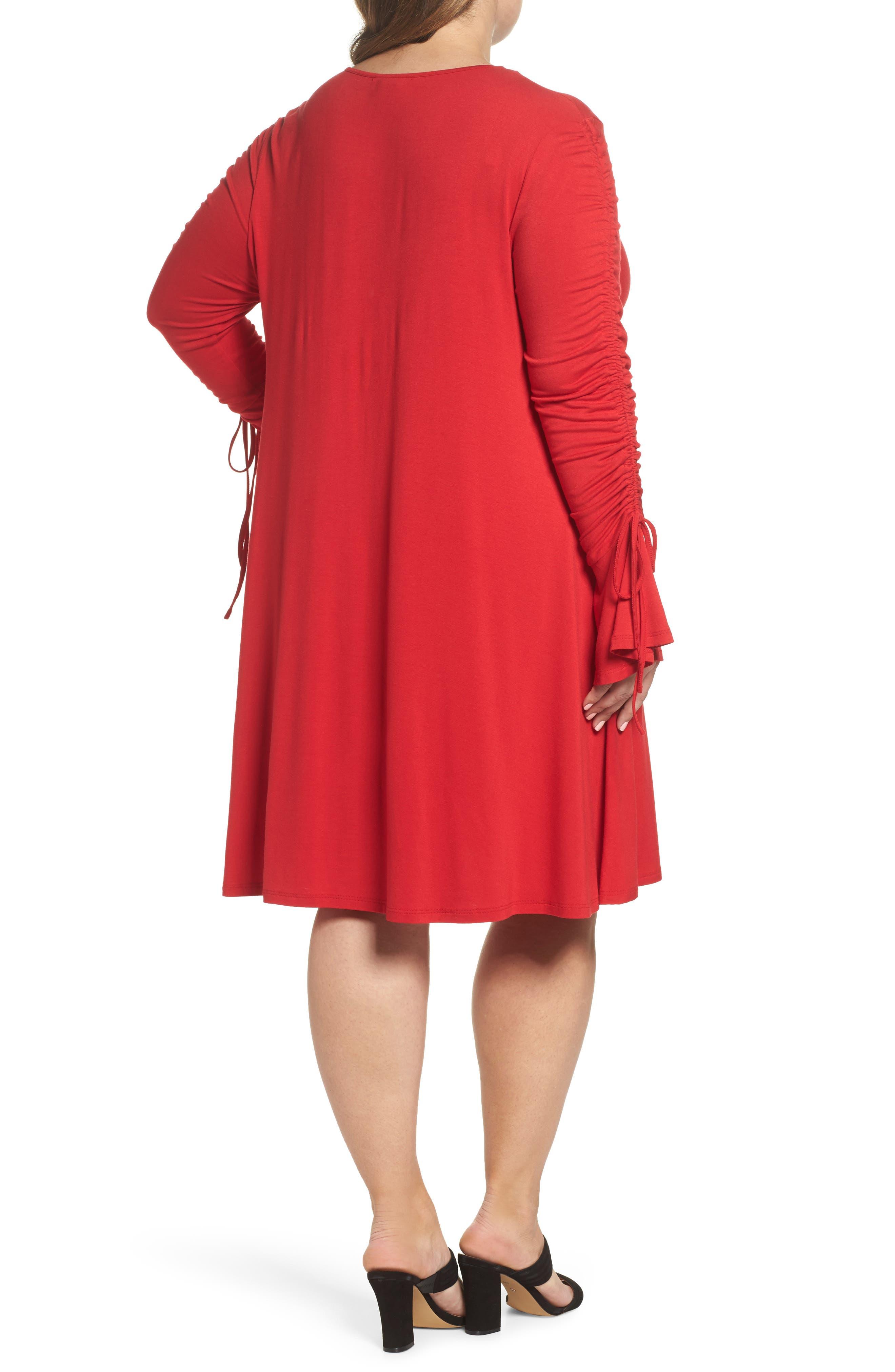 Tulip Sleeve Shift Dress,                             Alternate thumbnail 2, color,                             Red