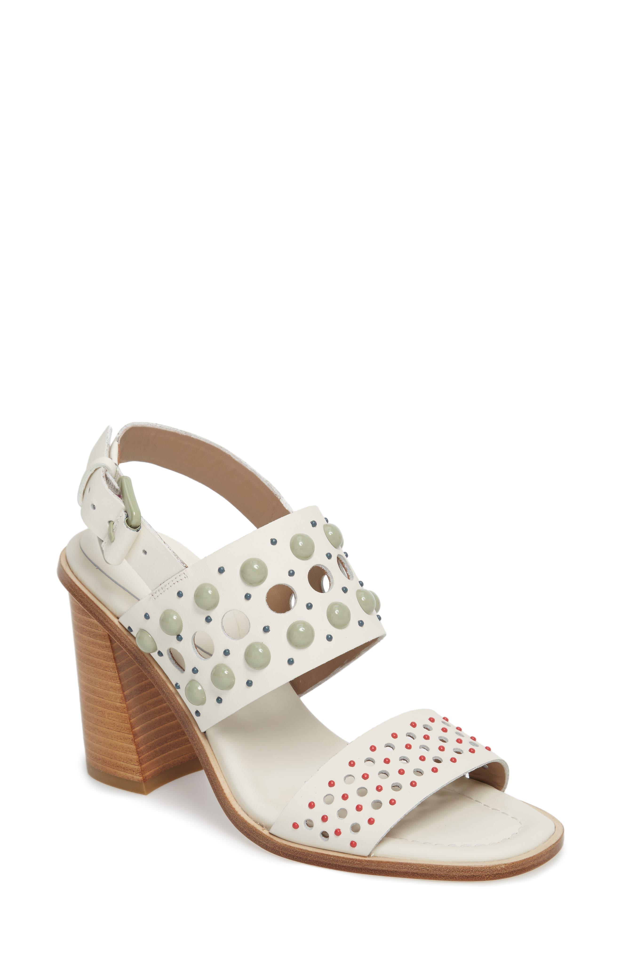 Estee Studded Sandal,                             Main thumbnail 1, color,                             Bone Leather