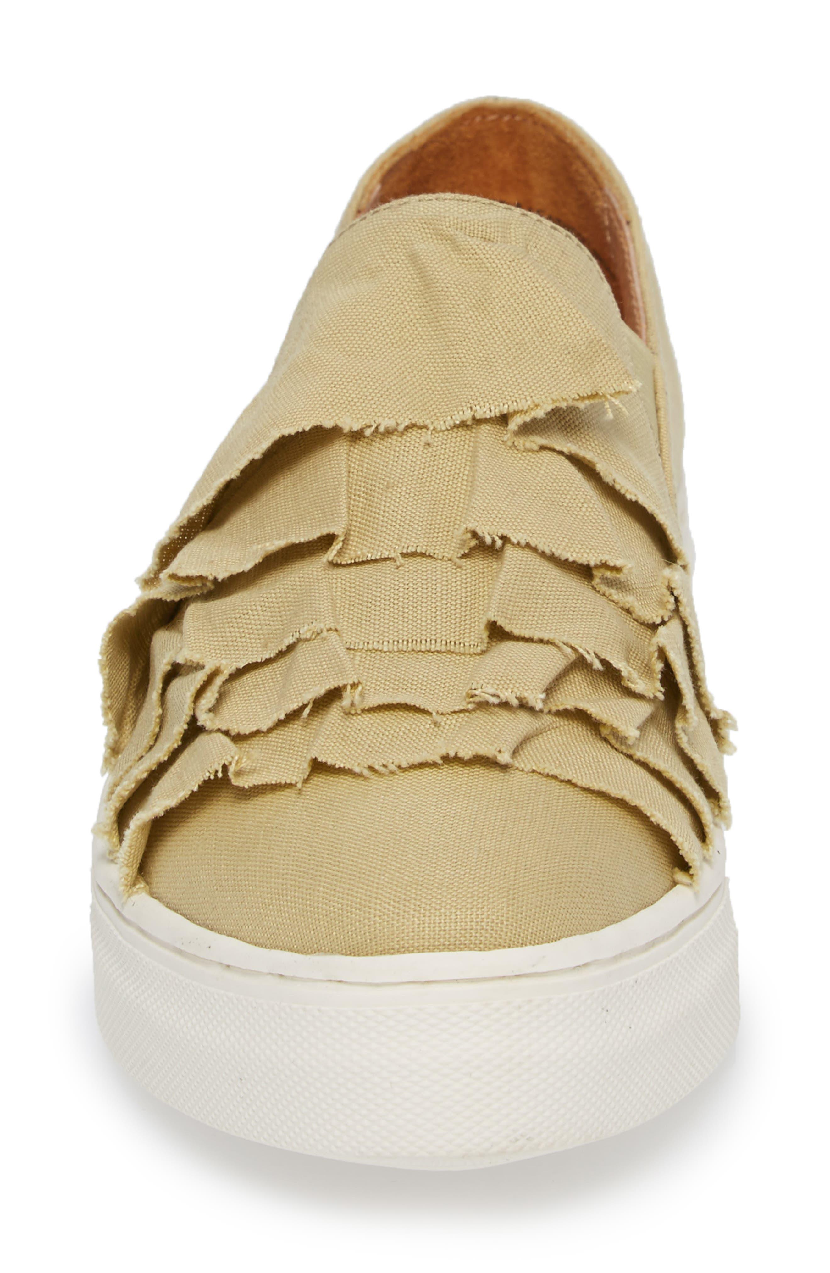 Quake II Slip-On Sneaker,                             Alternate thumbnail 4, color,                             Natural Frayed Fabric