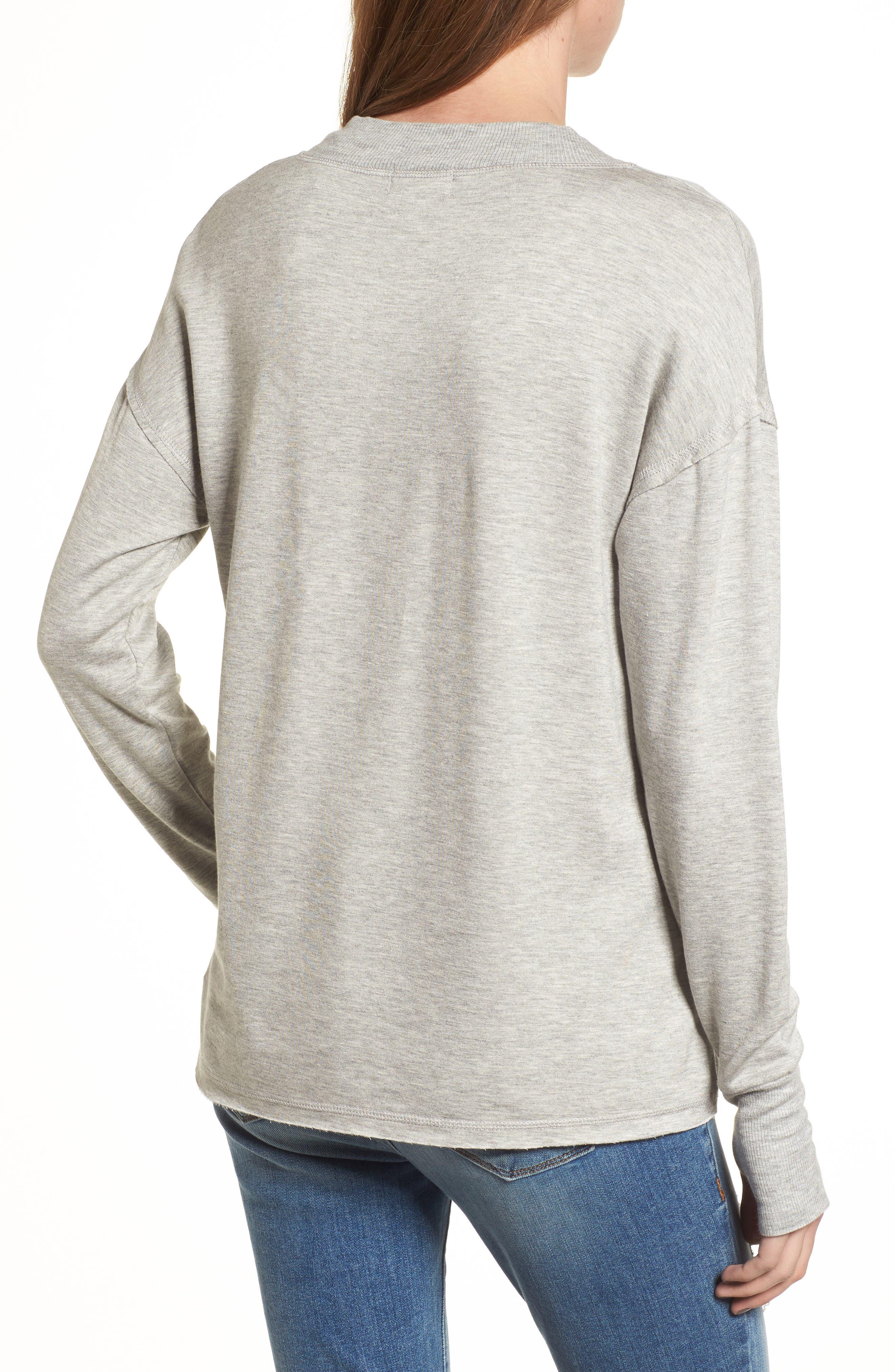 Thumbhole Cuff Sweater,                             Alternate thumbnail 2, color,                             Grey