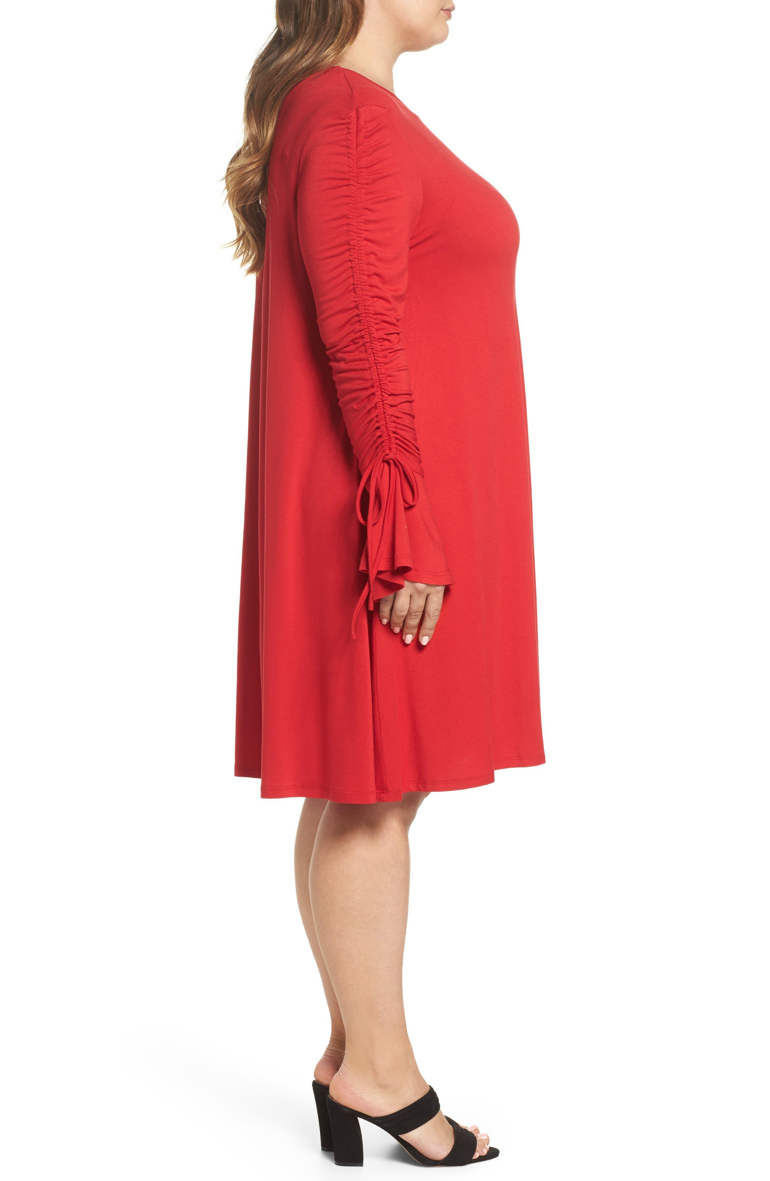 Tulip Sleeve Shift Dress,                             Alternate thumbnail 3, color,                             Red