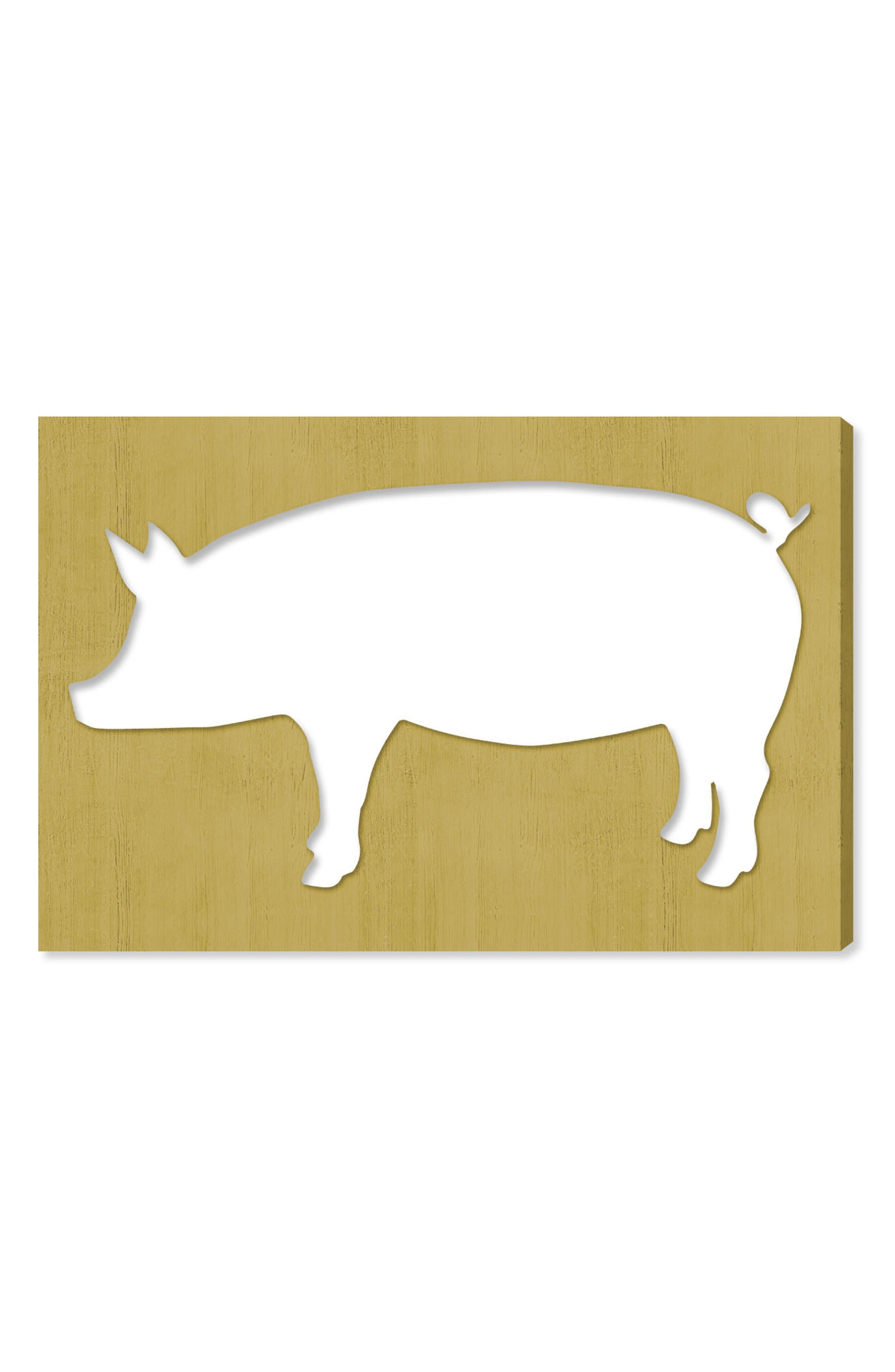 Pig Canvas Wall Art,                         Main,                         color, Yellow