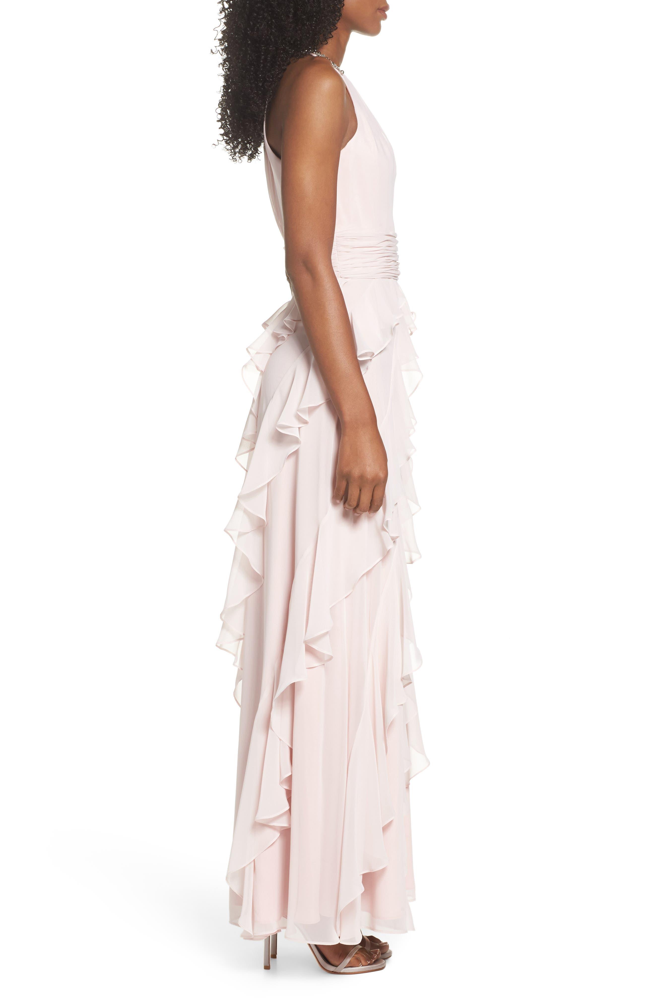 Embellished Ruffle Chiffon Gown,                             Alternate thumbnail 3, color,                             Blush