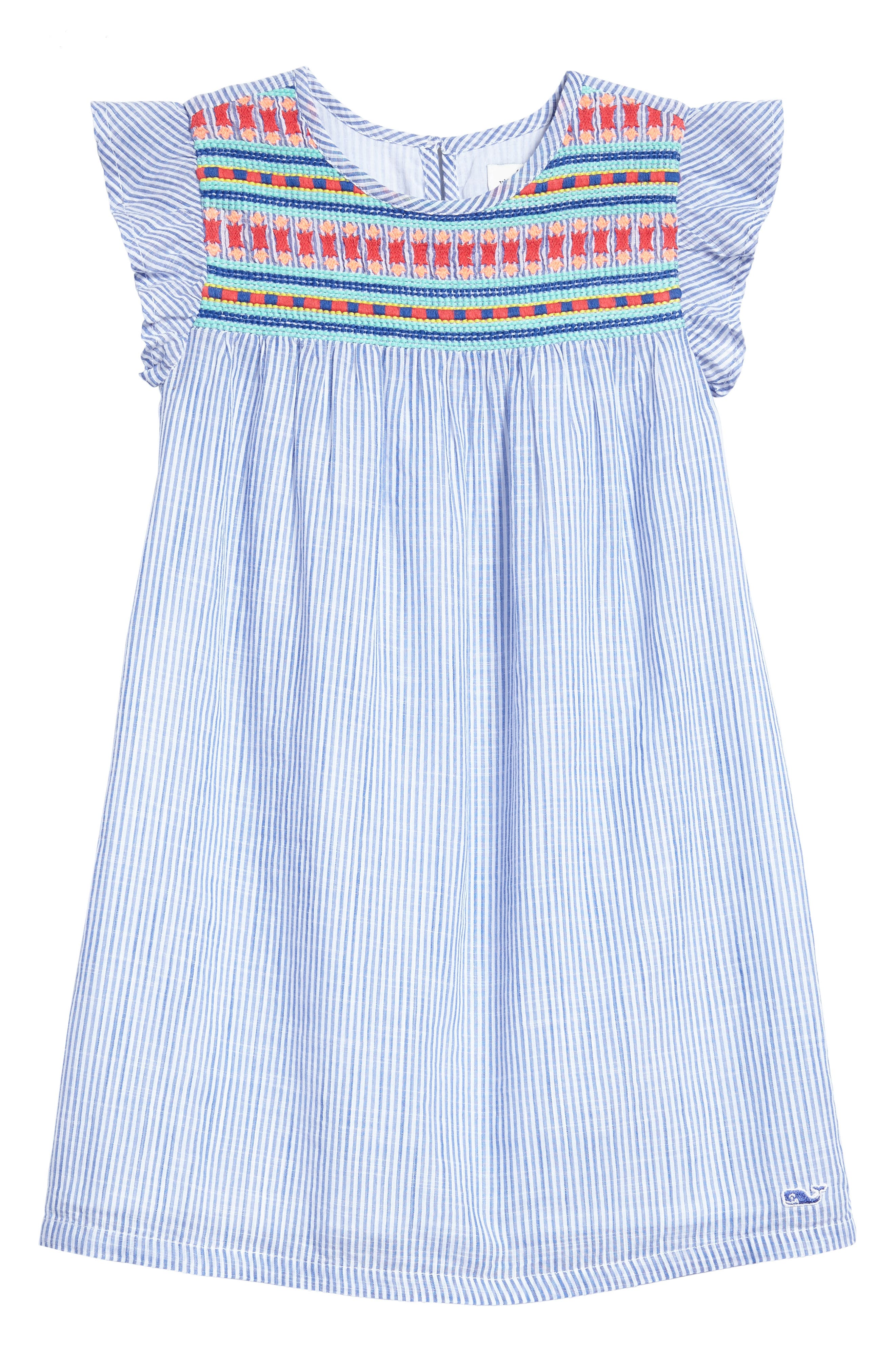 Embroidered Flutter Dress,                         Main,                         color, White Cap