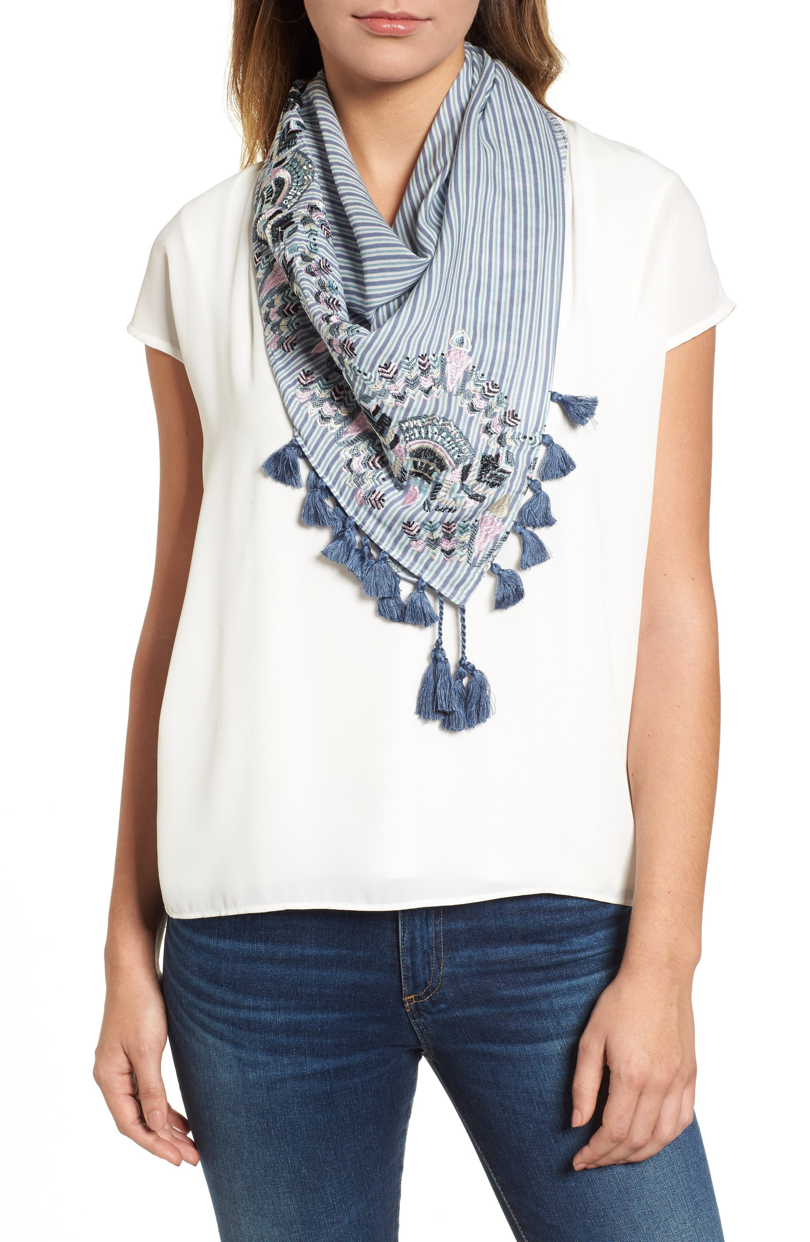 Embroidered Tassel Scarf,                         Main,                         color, Blue