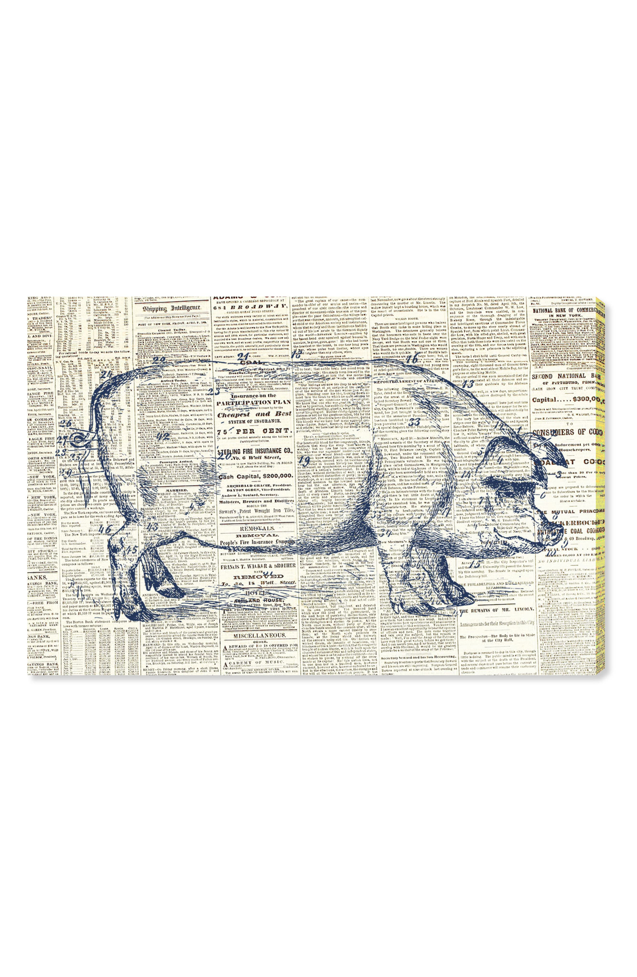 Pig Farmhouse Canvas Wall Art,                         Main,                         color, Blue