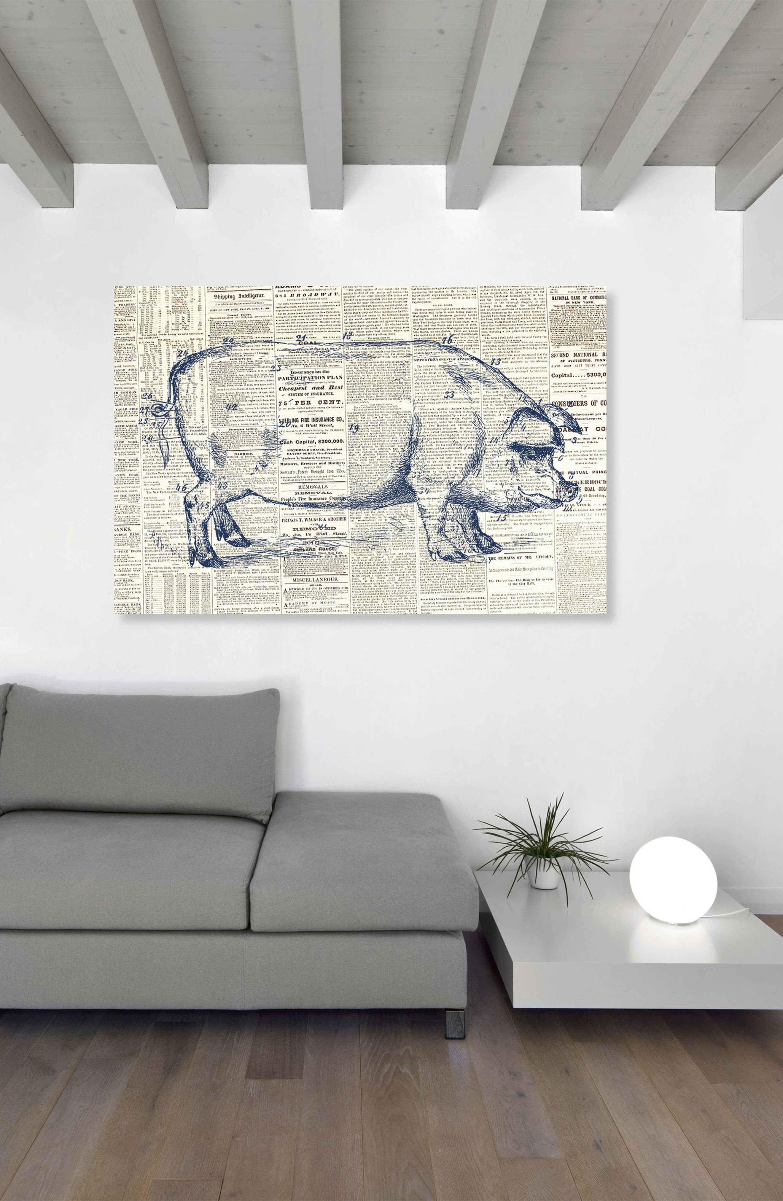 Pig Farmhouse Canvas Wall Art,                             Alternate thumbnail 2, color,                             Blue