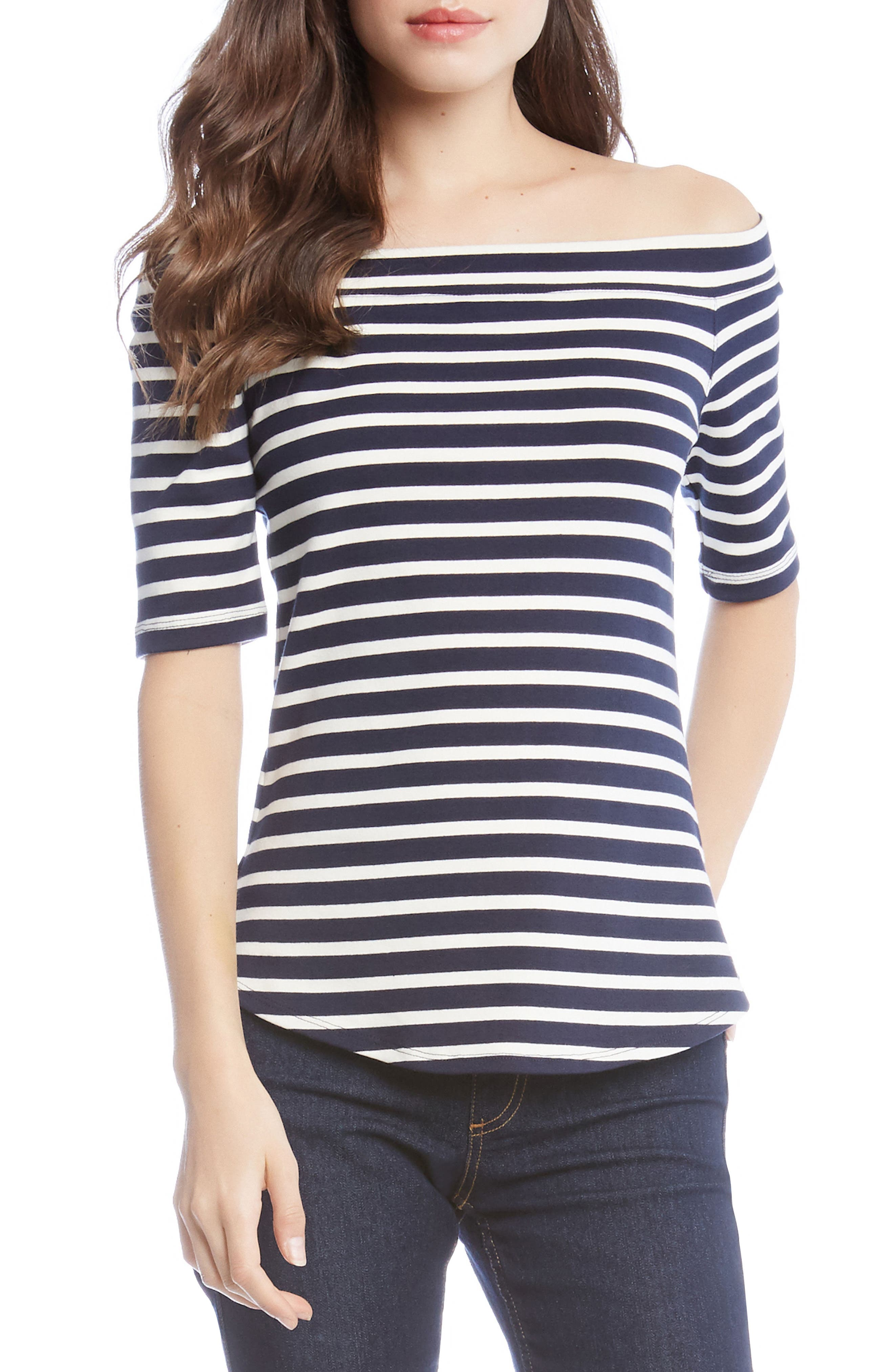 Off the Shoulder Stripe Top,                             Main thumbnail 1, color,                             Striped