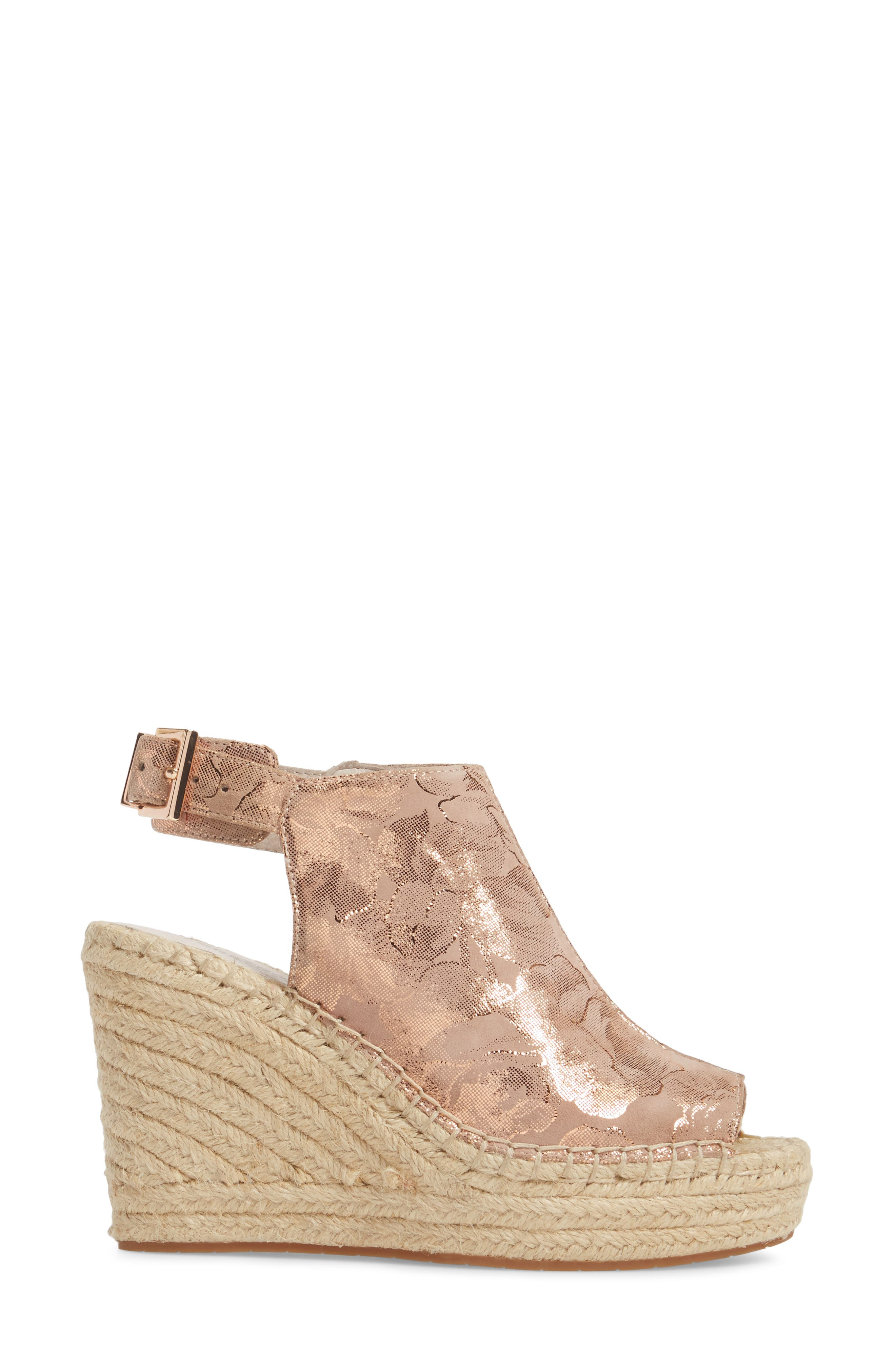 'Olivia' Wedge Sandal,                             Alternate thumbnail 3, color,                             Rose Gold Leather