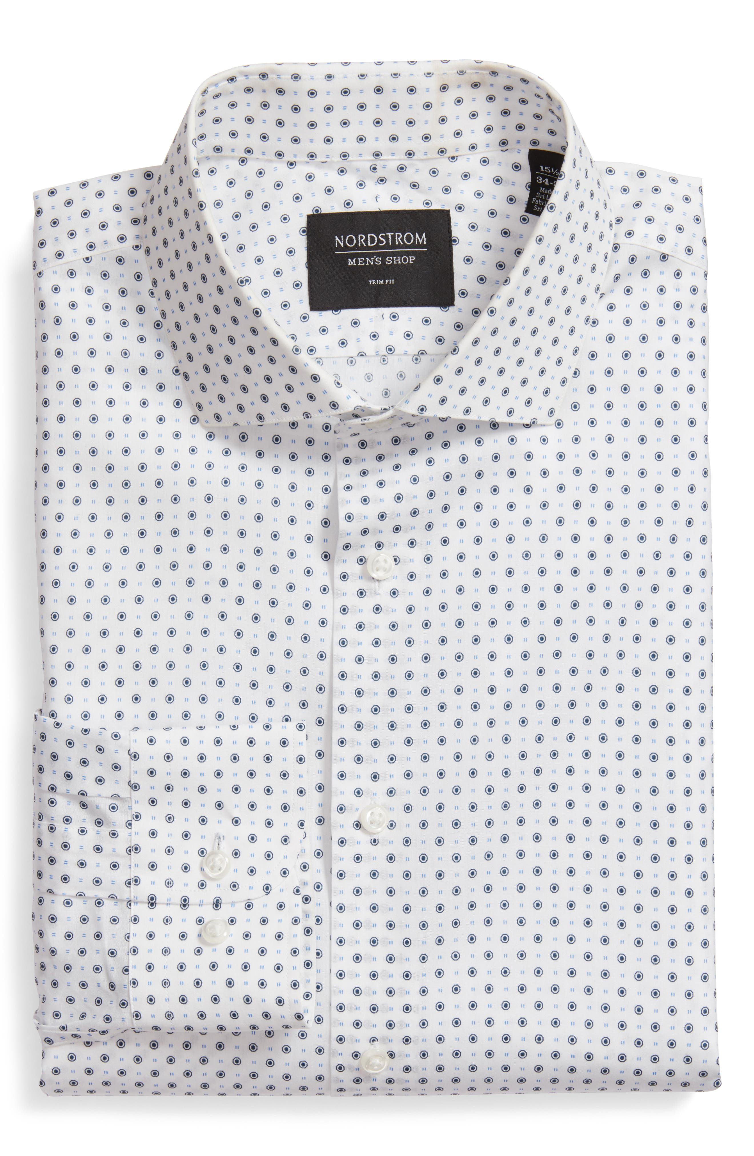 Trim Fit Dot Dress Shirt,                             Main thumbnail 1, color,                             White Navy Peacoat