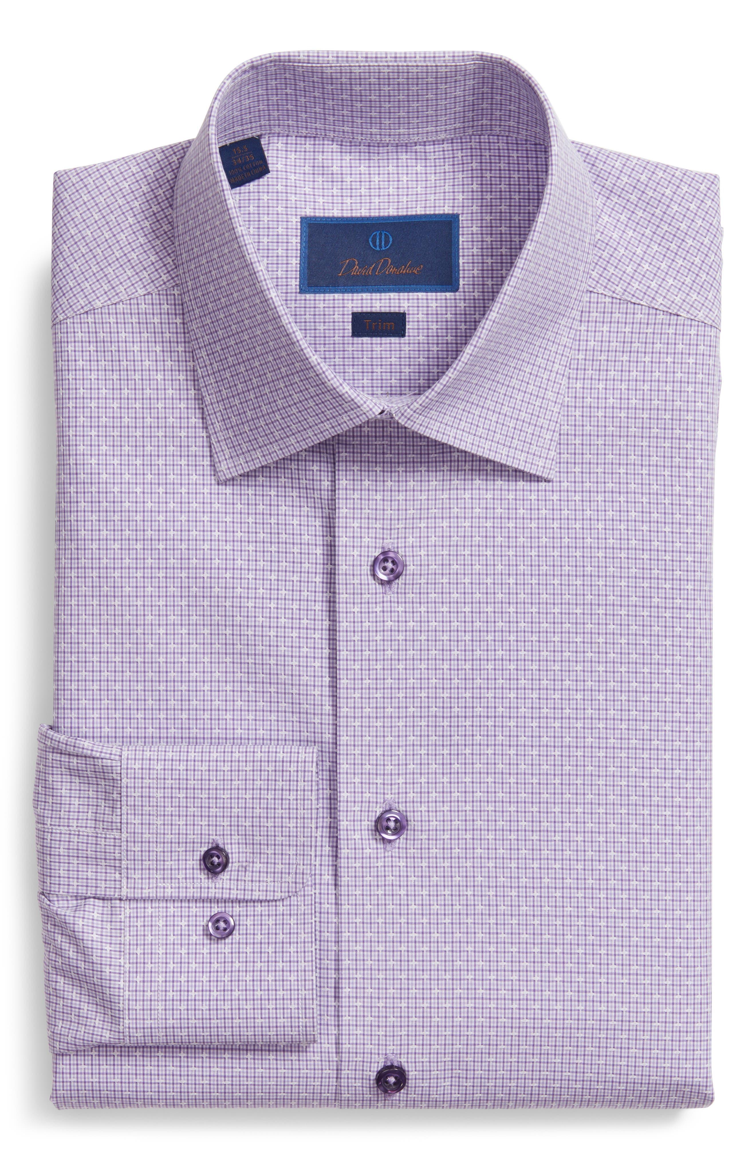 Trim Fit Check Dress Shirt,                         Main,                         color, Lilac