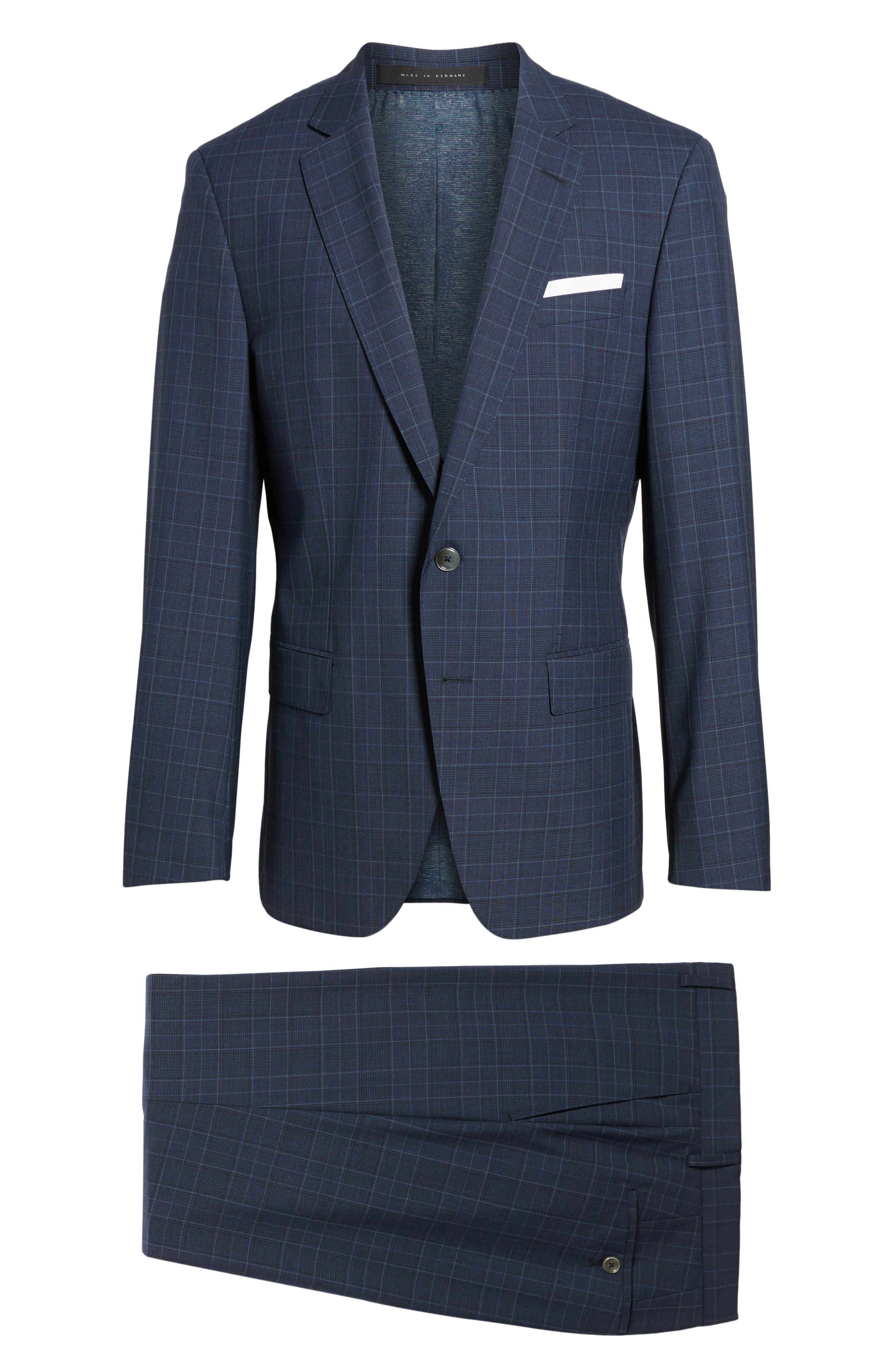 Hutson/Gander Trim Fit Plaid Wool Suit,                             Alternate thumbnail 8, color,                             Navy
